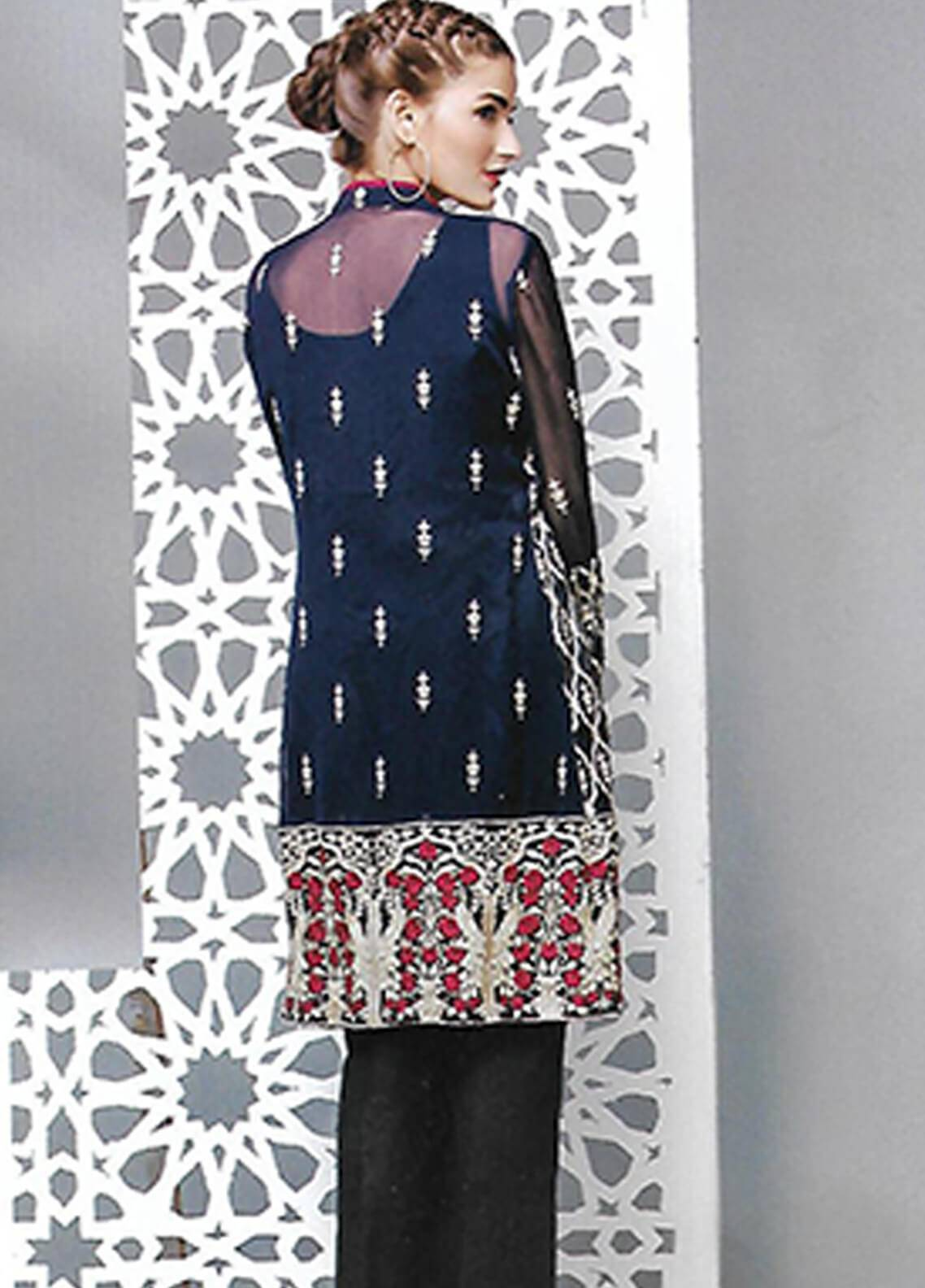 495011302e Sahil By ZS Textiles Embroidered Organza Unstitched Kurties SE18KC 01 - Mid  Summer Collection