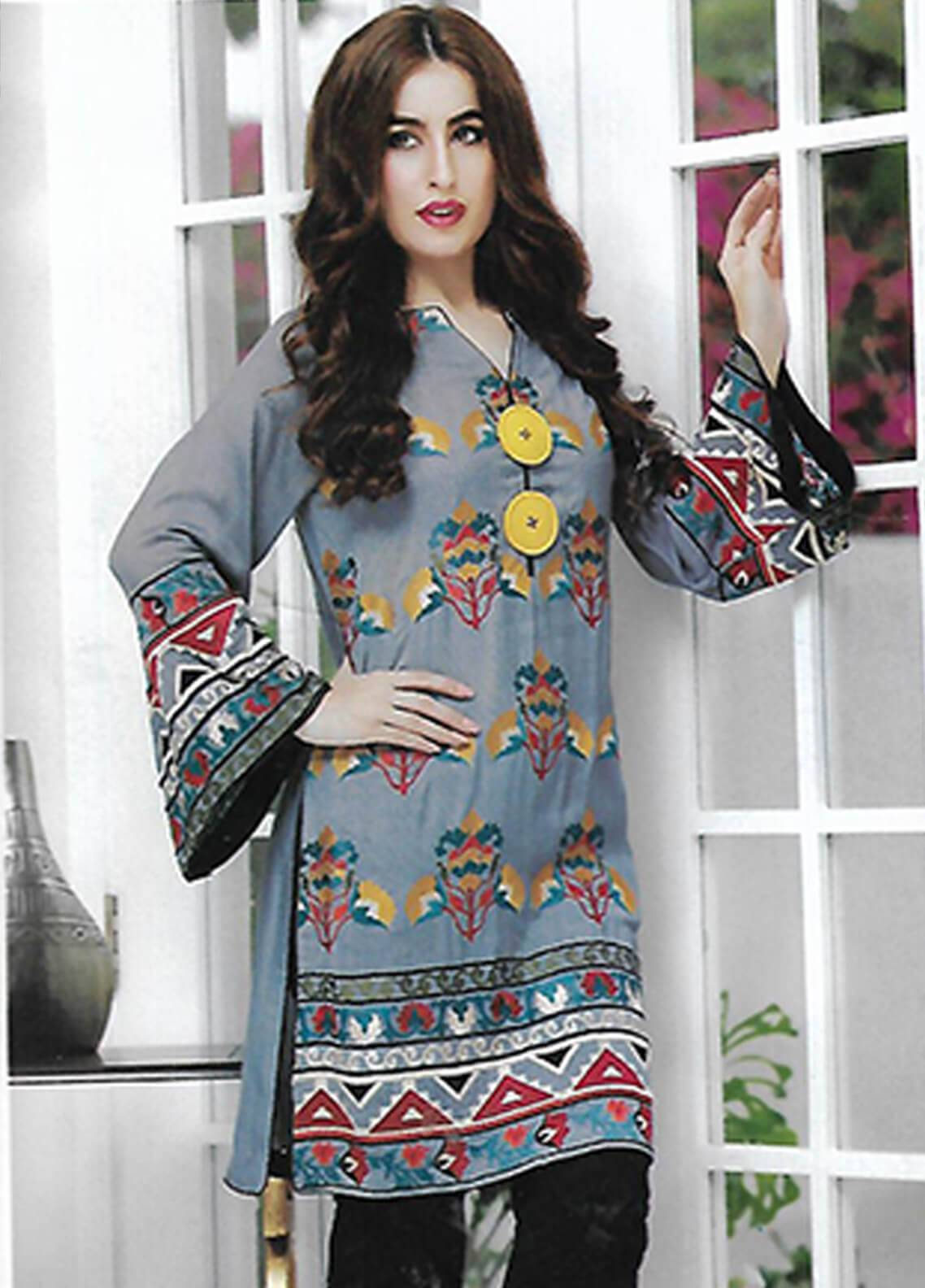 Sahil By ZS Textiles Embroidered Swiss Malmal Unstitched Kurties SE18KC 09 - Mid Summer Collection