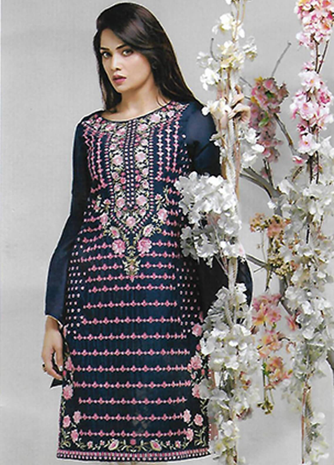 Sahil By ZS Textiles Embroidered Swiss Malmal Unstitched Kurties SE18KC 10 - Mid Summer Collection