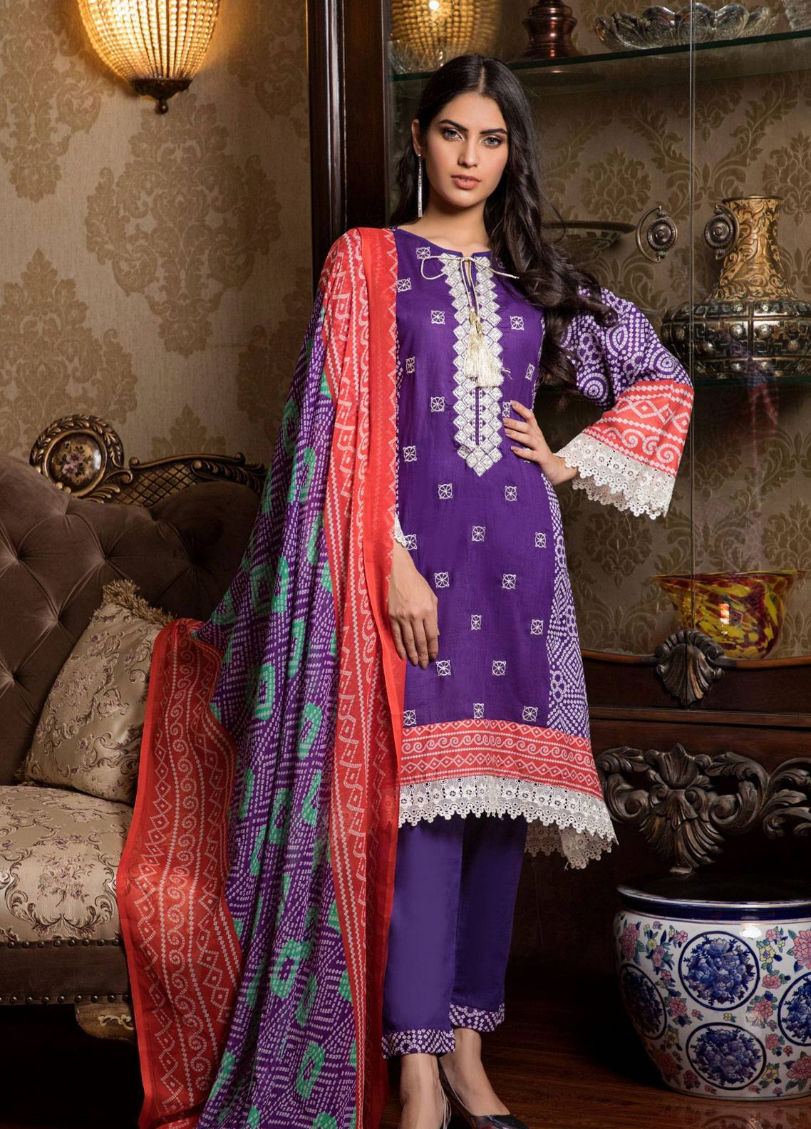 Sahil By ZS Textiles Embroidered Lawn Unstitched 3 Piece Suit SL19L 1B - Spring / Summer Collection