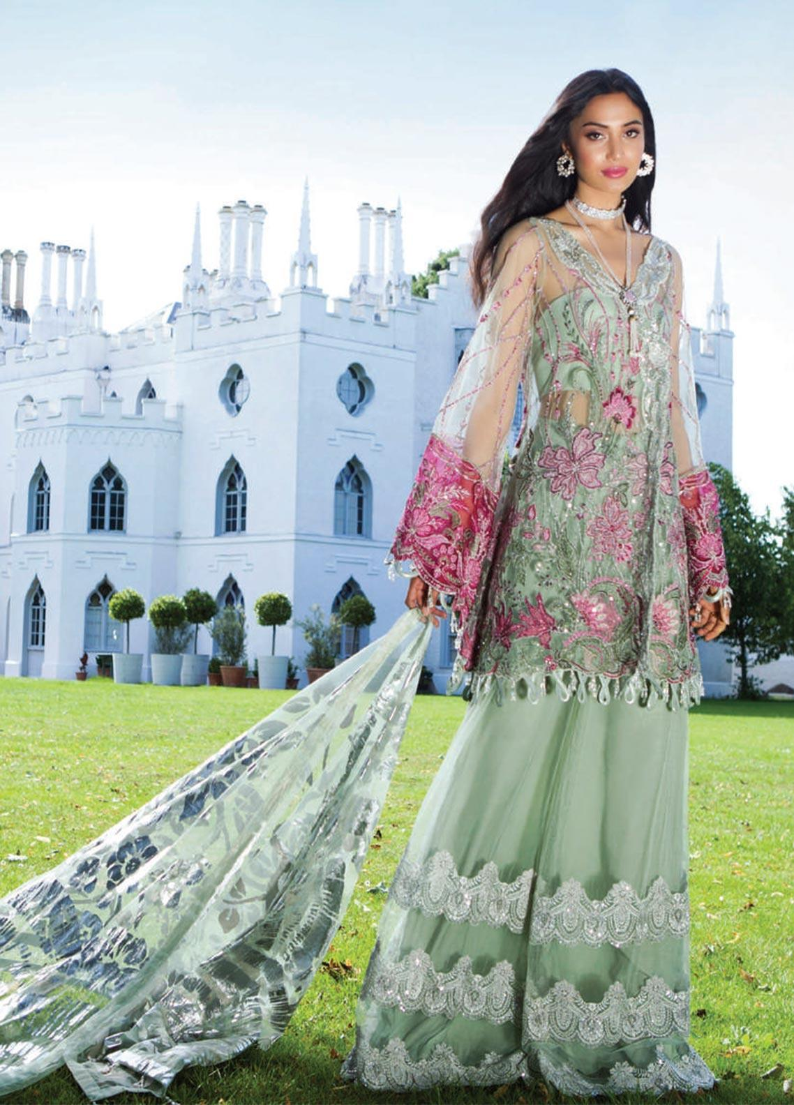 Saira Rizwan Embroidered Zari Net Unstitched 3 Piece Suit SR19WF 1 EMINA - Wedding Collection