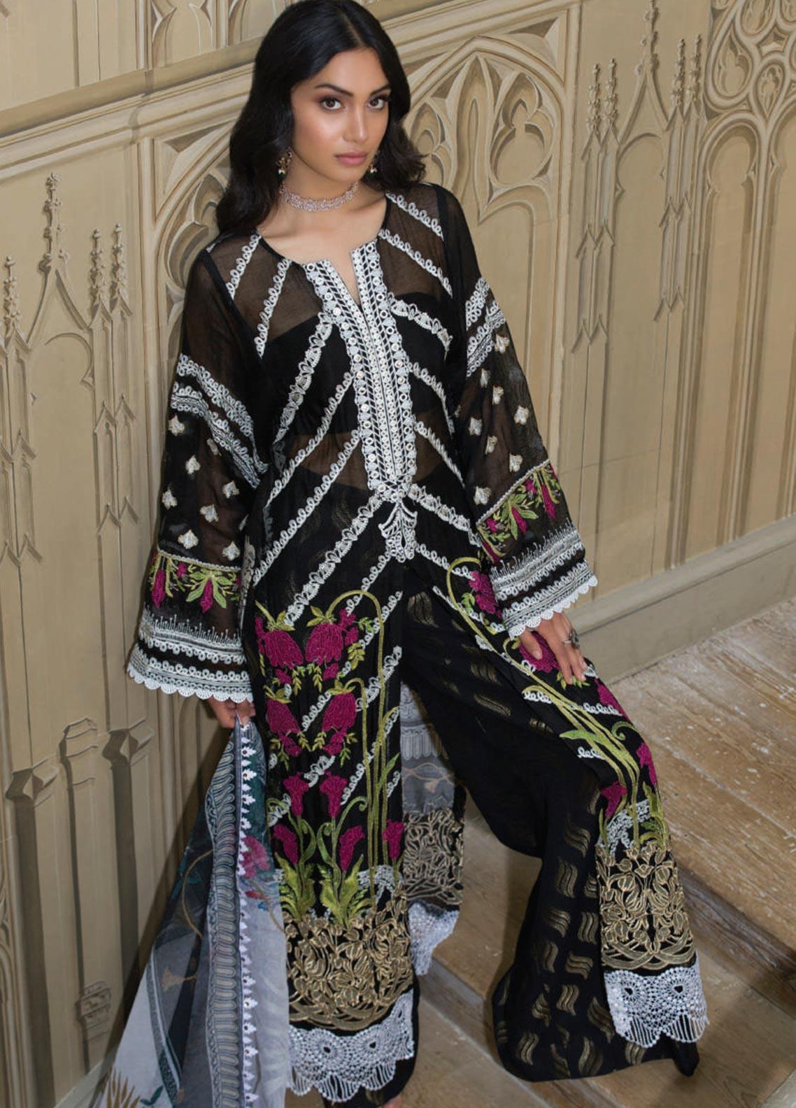 Saira Rizwan Embroidered Khaadi Net Unstitched 3 Piece Suit SR19WF 6 LEYA - Wedding Collection