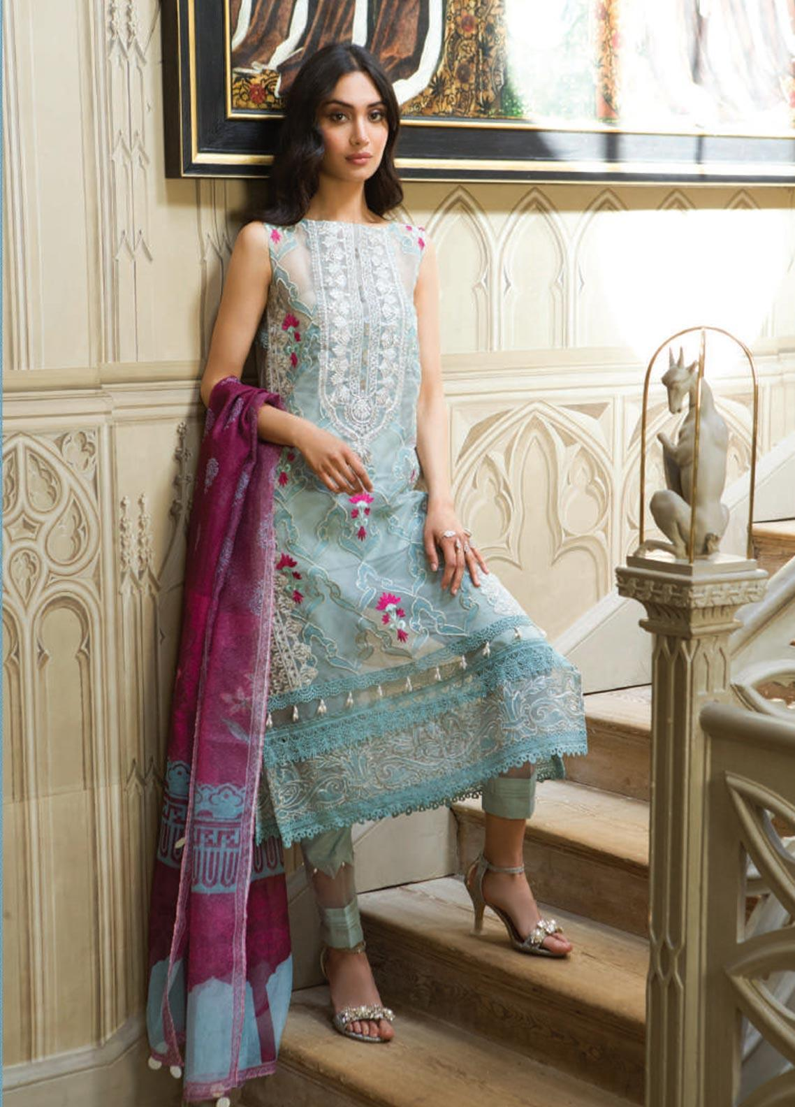 Saira Rizwan Embroidered Organza Unstitched 3 Piece Suit SR19WF 7 VILINA - Wedding Collection
