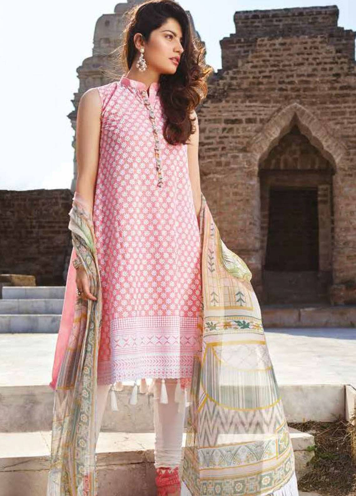 1a2d70b617 Sakura by Noor Textiles Embroidered Lawn Unstitched 3 Piece Suit SK19SC 03S  - Spring / Summer Collection