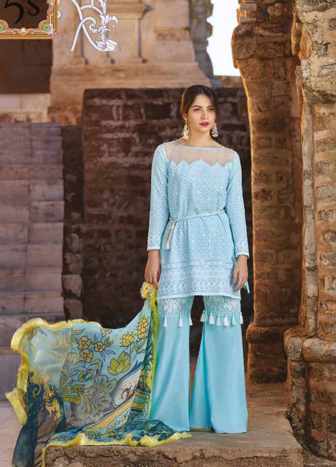Sakura by Noor Textiles Embroidered Lawn Unstitched 3 Piece Suit SK19SC 05S - Spring / Summer Collection