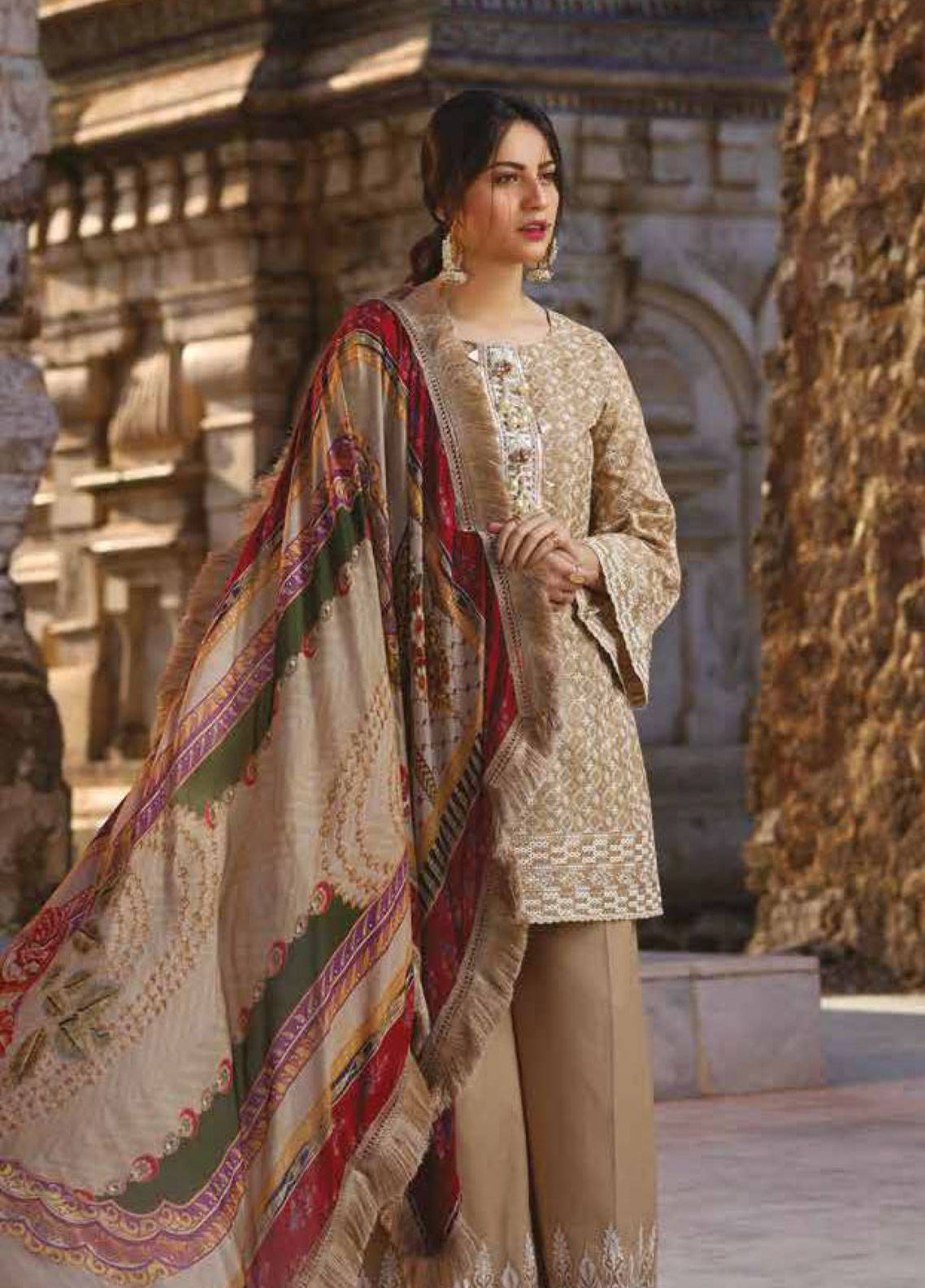 Sakura by Noor Textiles Embroidered Lawn Unstitched 3 Piece Suit SK19SC 08S - Spring / Summer Collection