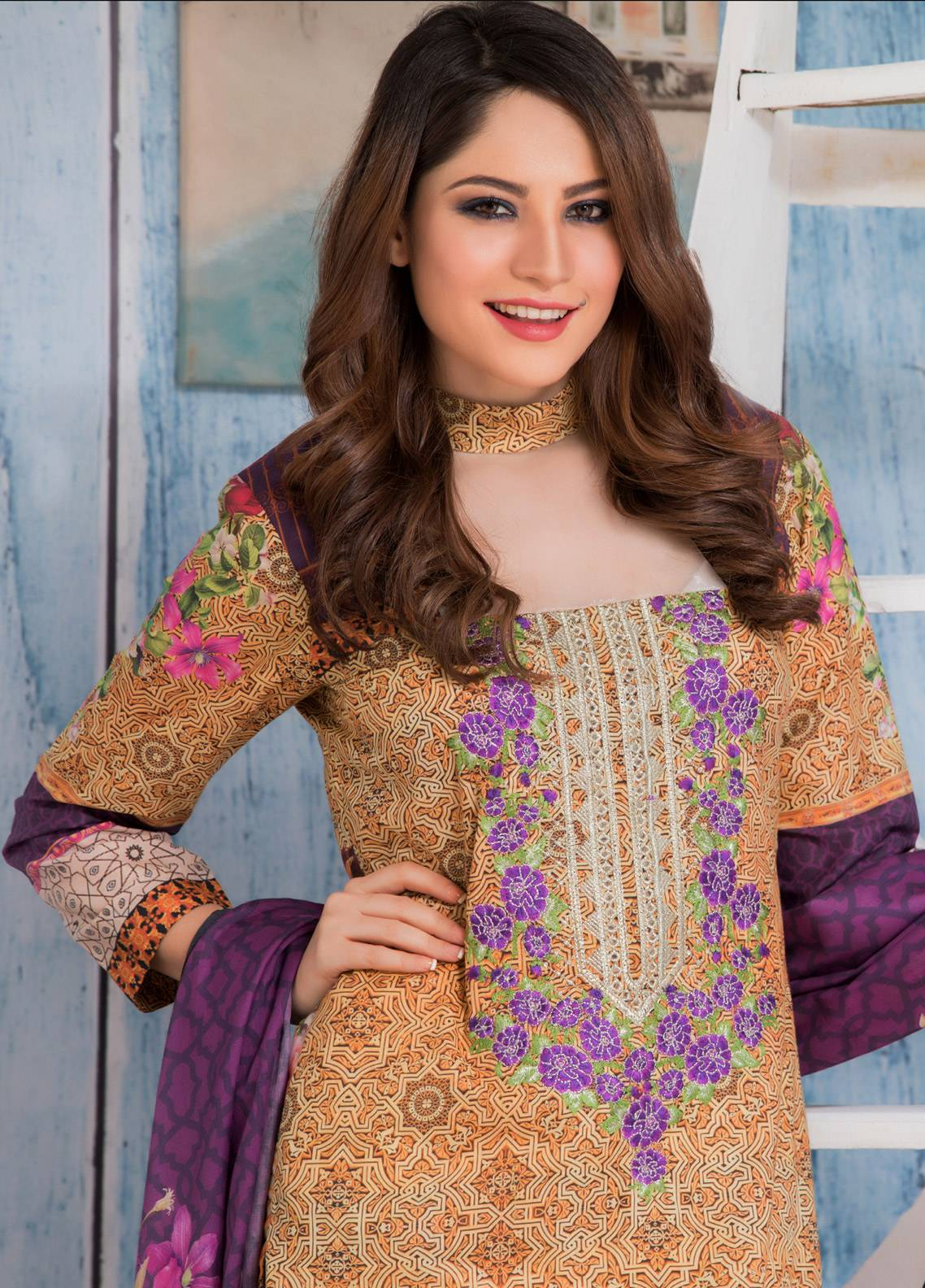Salina Embroidered Lawn Unstitched 3 Piece Suit SAL18E 03 - Eid Collection