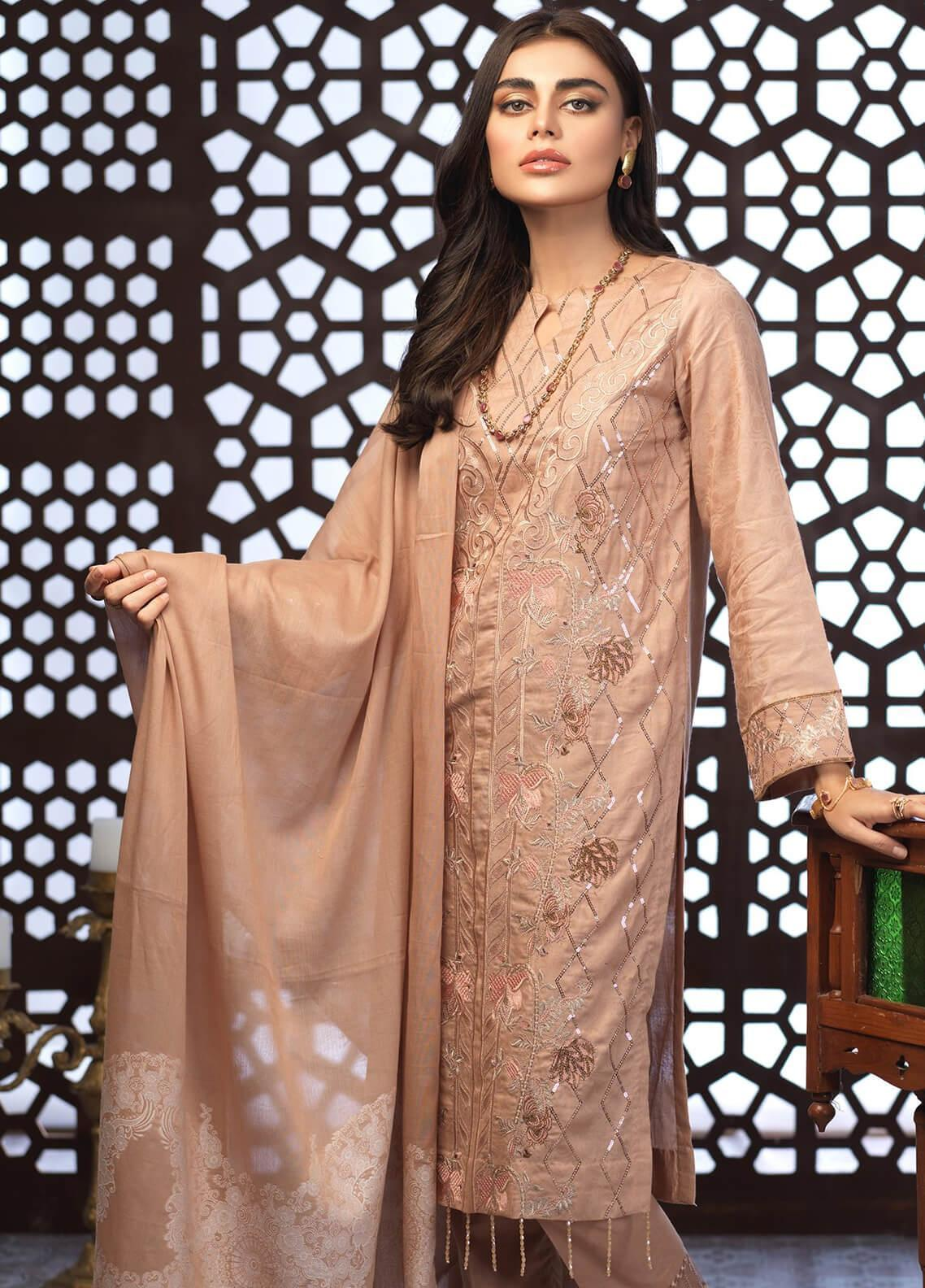 Salitex Embroidered Jacquard Unstitched 3 Piece Suit ST19E 300 - Festive Collection