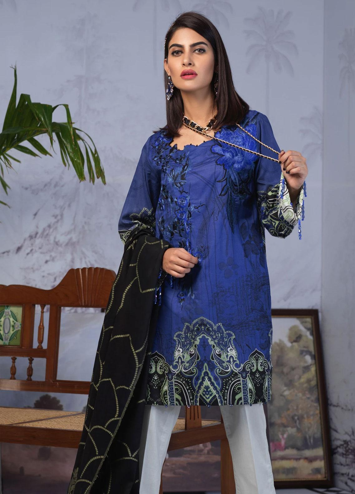 Salitex Embroidered Lawn Unstitched 3 Piece Suit ST19PL 312B - Mid Summer Collection