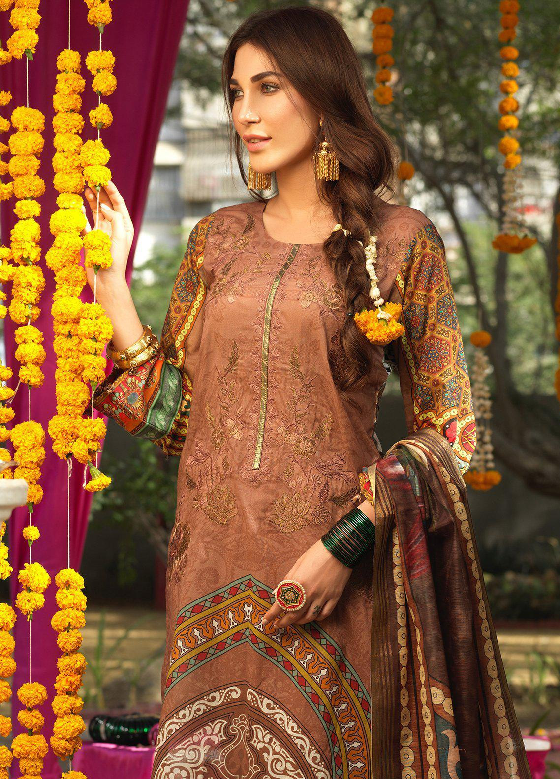 Salitex Embroidered Lawn Unstitched 3 Piece Suit STR19F WK277 - Festive Collection