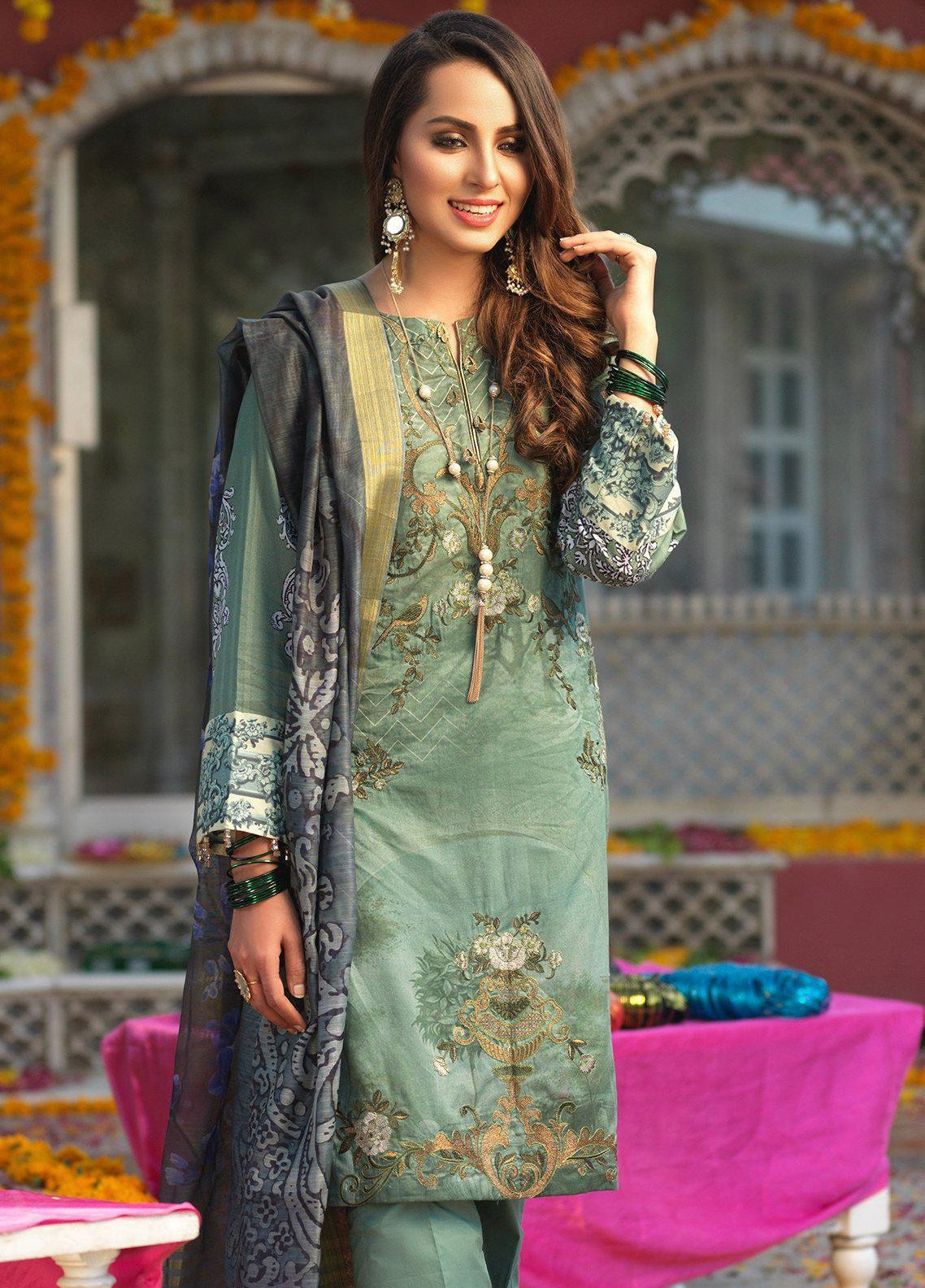 Salitex Embroidered Lawn Unstitched 3 Piece Suit STR19F WK280 - Festive Collection