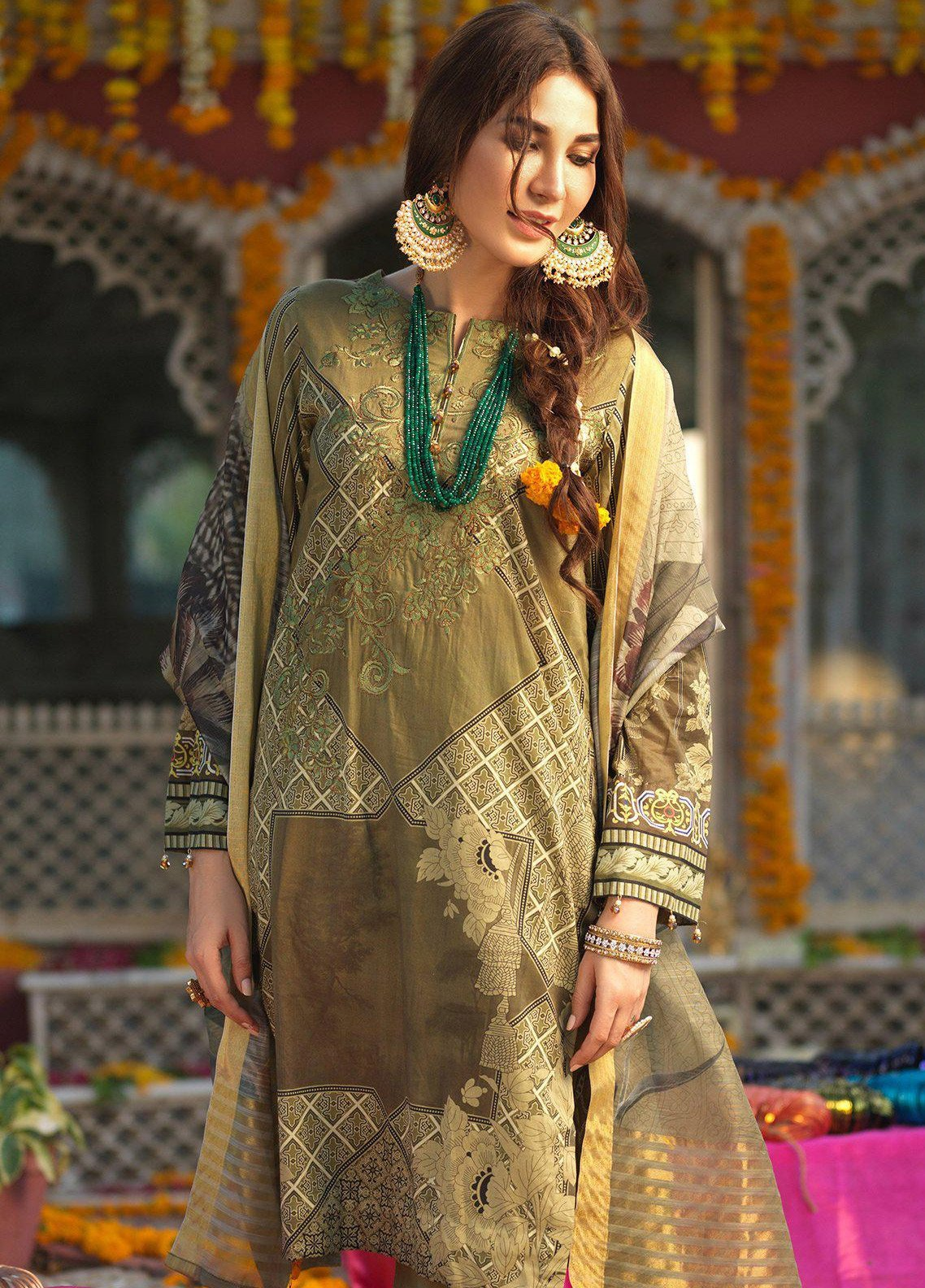 Salitex Embroidered Lawn Unstitched 3 Piece Suit STR19F WK281 - Festive Collection
