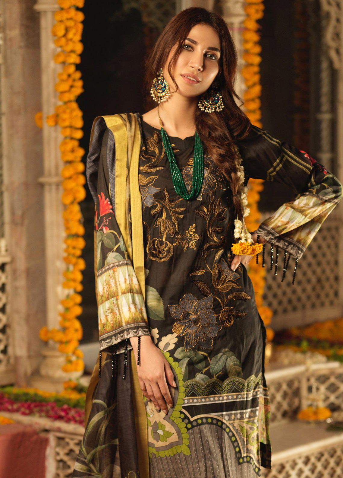 94d7450adf Salitex Embroidered Lawn Unstitched 3 Piece Suit STR19F WK285 - Festive  Collection