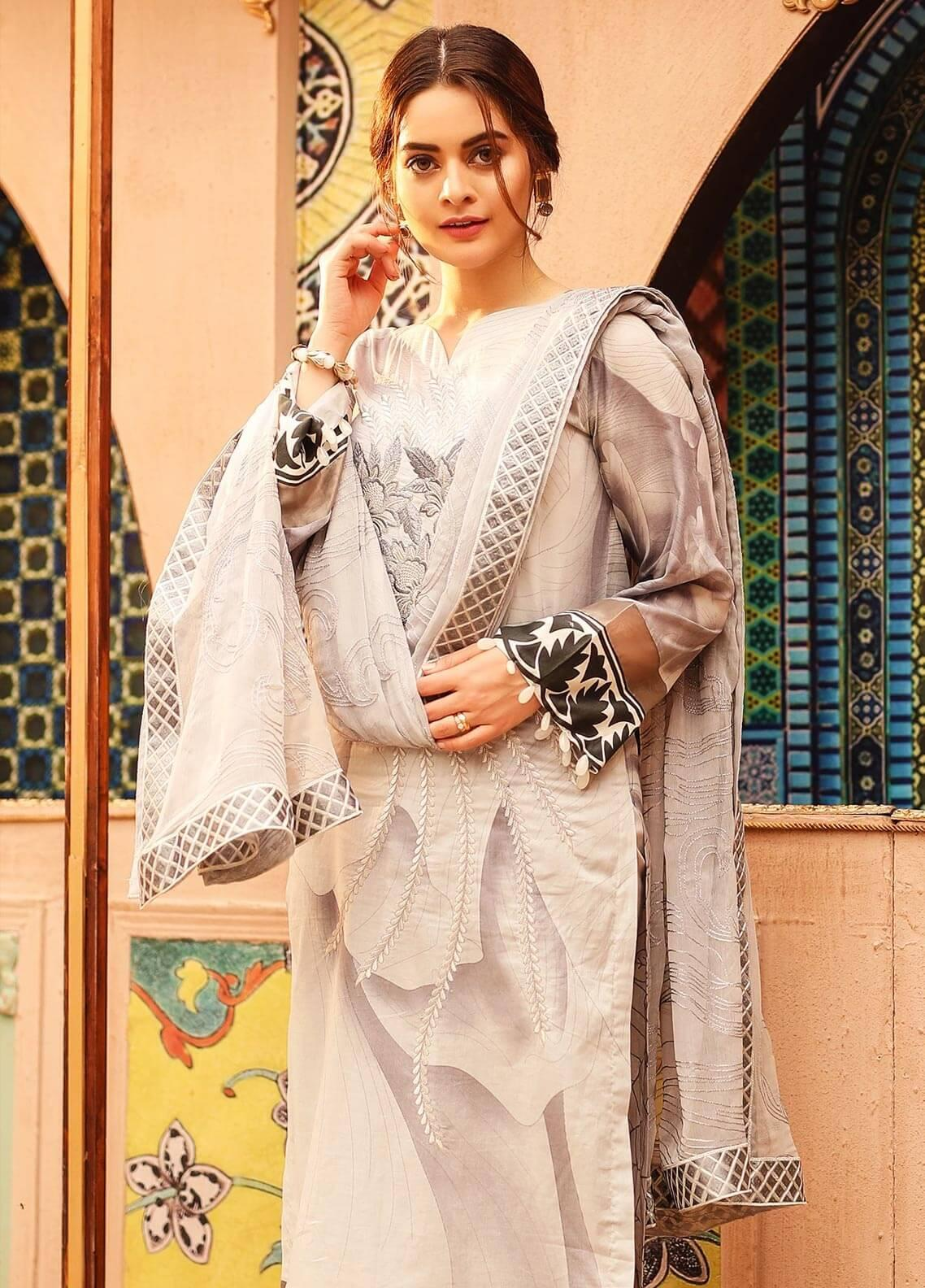 Salitex Embroidered Lawn Unstitched 3 Piece Suit ST19SF 295B - Festive Collection