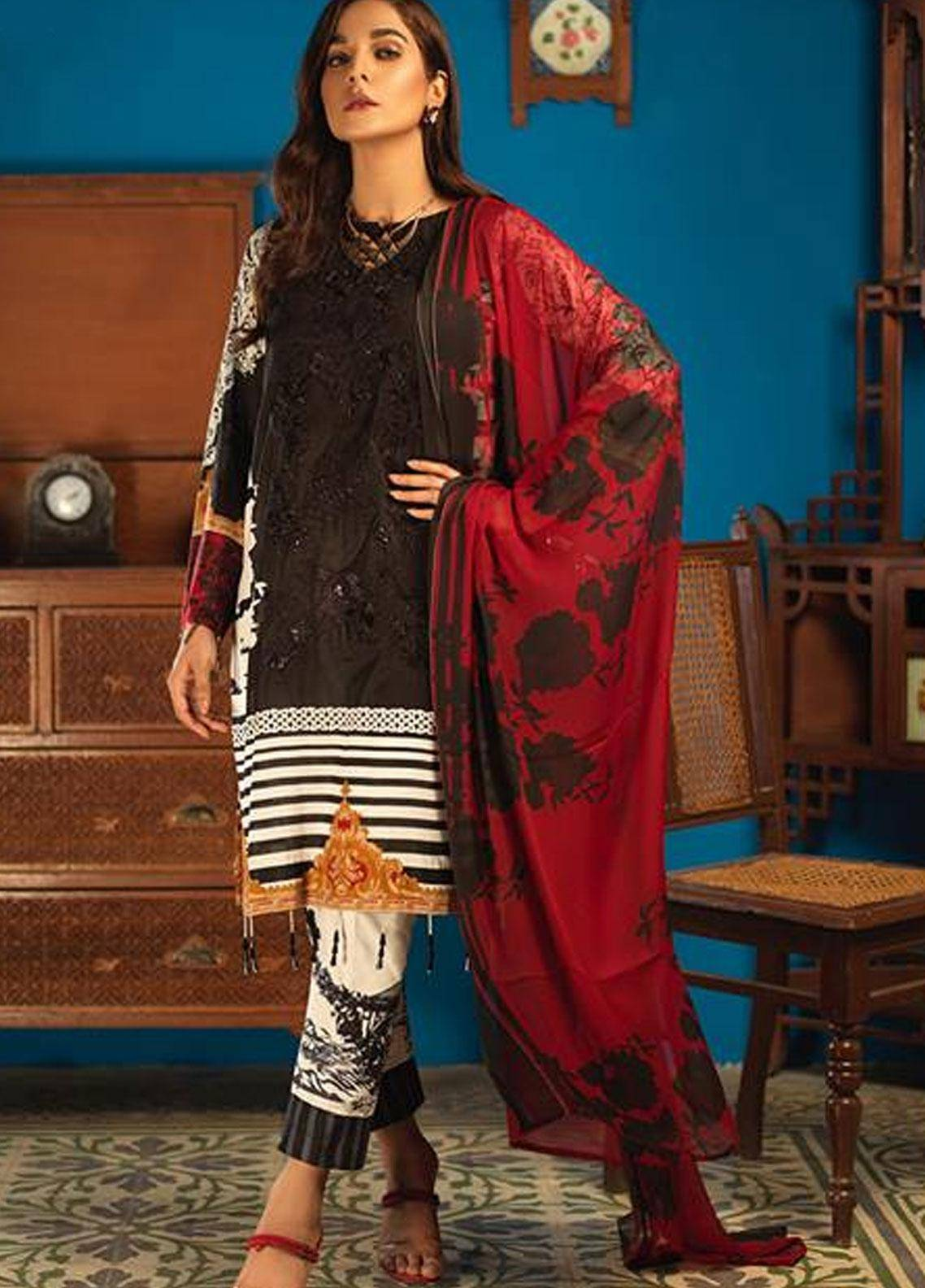 Silkoria by Sana & Sara Embroidered Lawn Unstitched 3 Piece Suit SLK19L 156A - Spring / Summer Collection