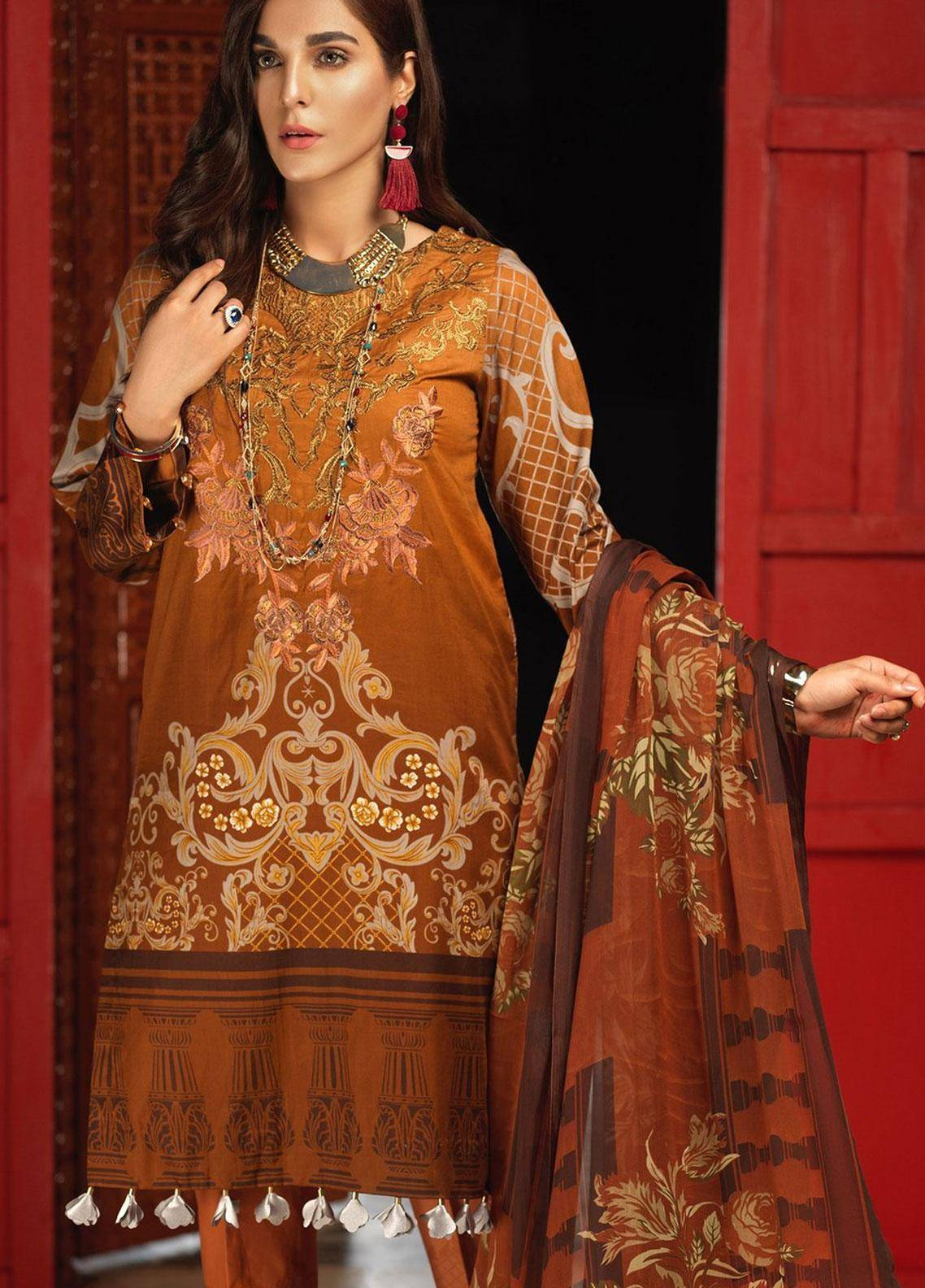 Silkoria by Sana & Sara Embroidered Lawn Unstitched 3 Piece Suit SLK19L 157B - Spring / Summer Collection