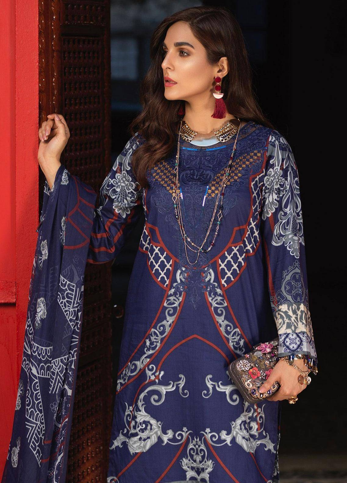 Silkoria by Sana & Sara Embroidered Lawn Unstitched 3 Piece Suit SLK19L 158A - Spring / Summer Collection