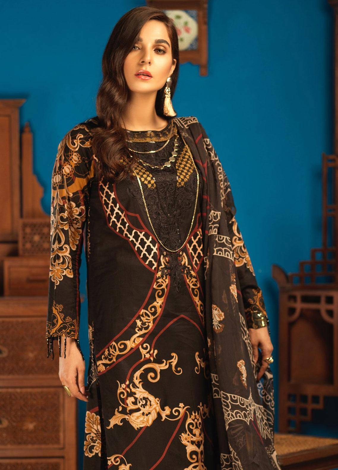 Silkoria by Sana & Sara Embroidered Lawn Unstitched 3 Piece Suit SLK19L 158B - Spring / Summer Collection