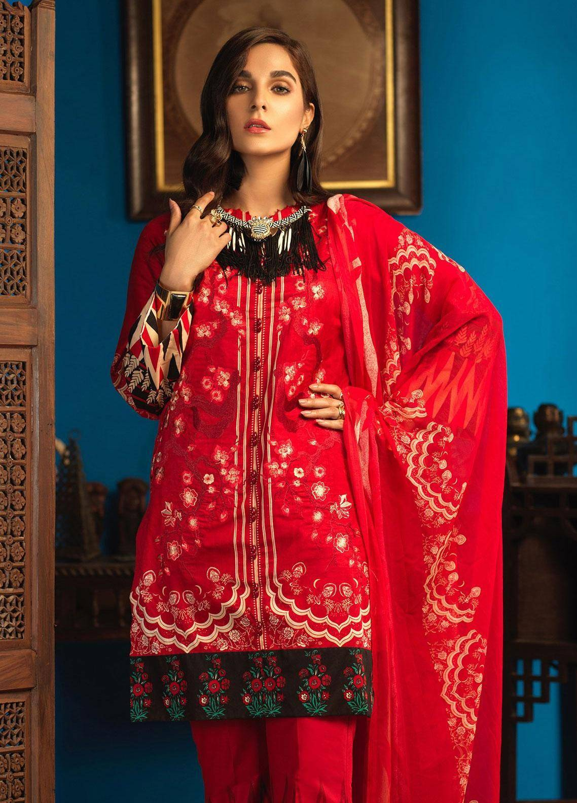 Silkoria by Sana & Sara Embroidered Lawn Unstitched 3 Piece Suit SLK19L 159B - Spring / Summer Collection