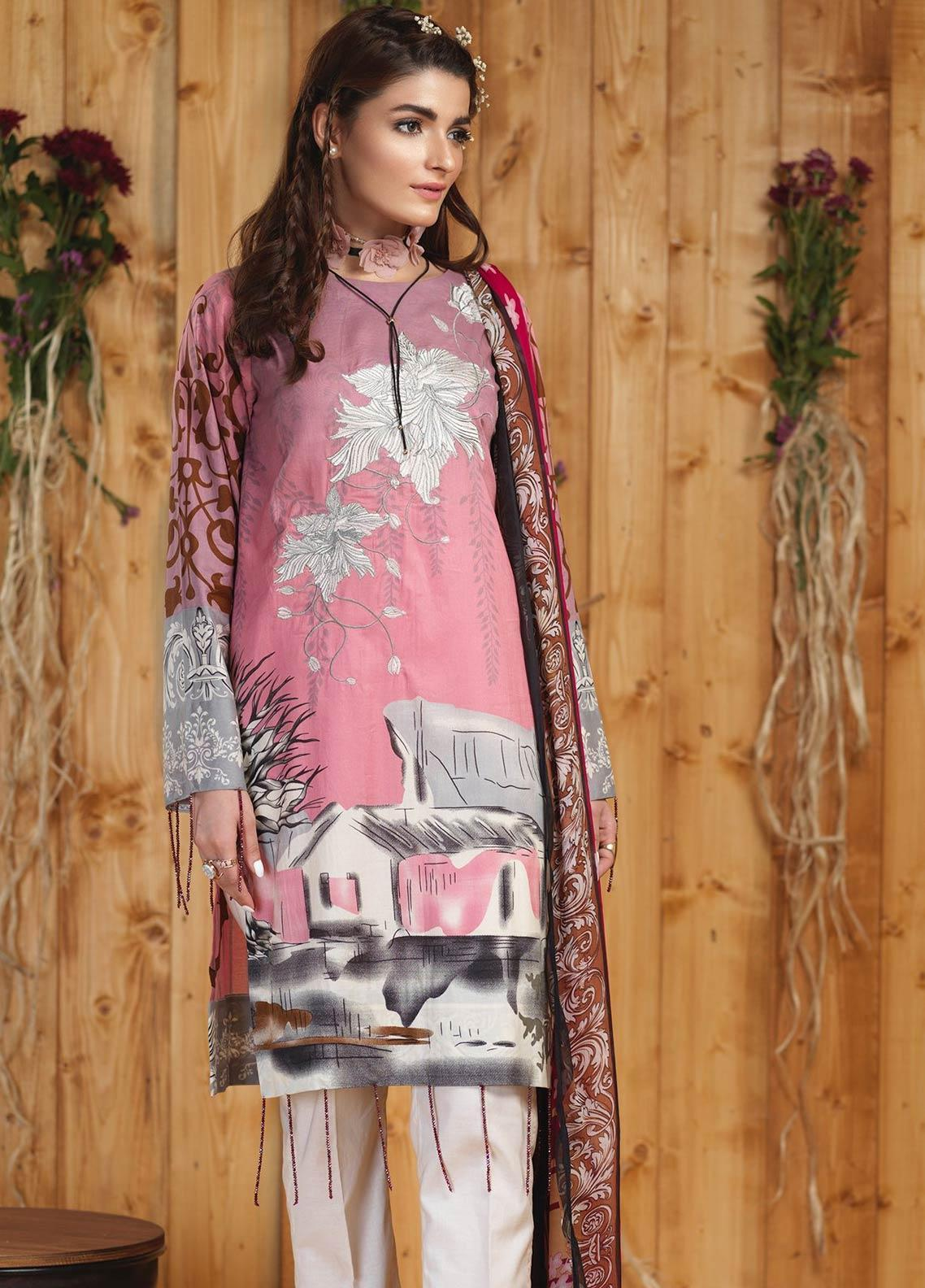 Sana & Sara Embroidered Lawn Unstitched 3 Piece Suit SLK19-L4 160B - Mid Summer Collection