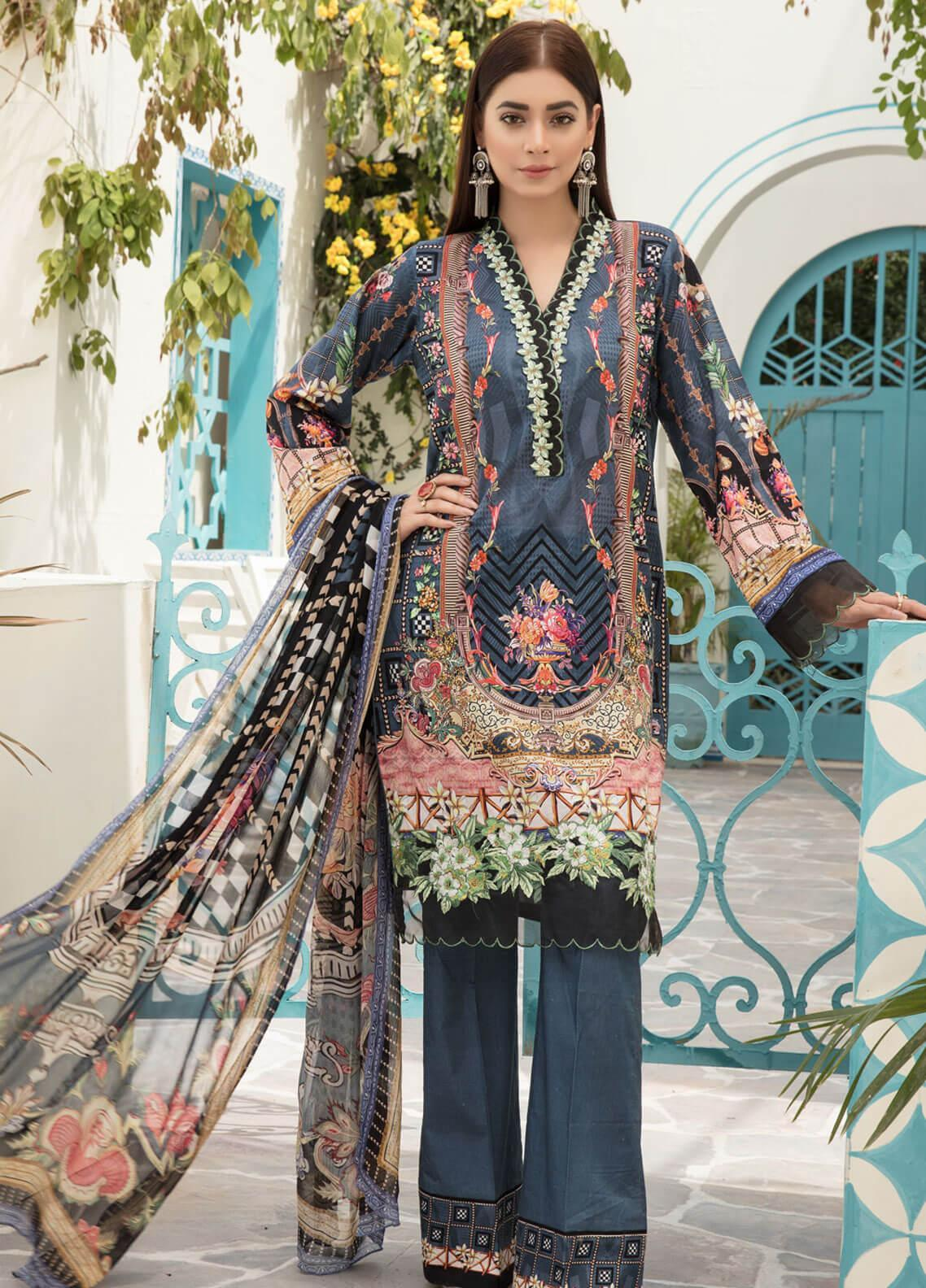 98708038ed Sanoor by Noor Fatima Embroidered Lawn Unstitched 3 Piece Suit SNO19F 132 - Festive  Collection