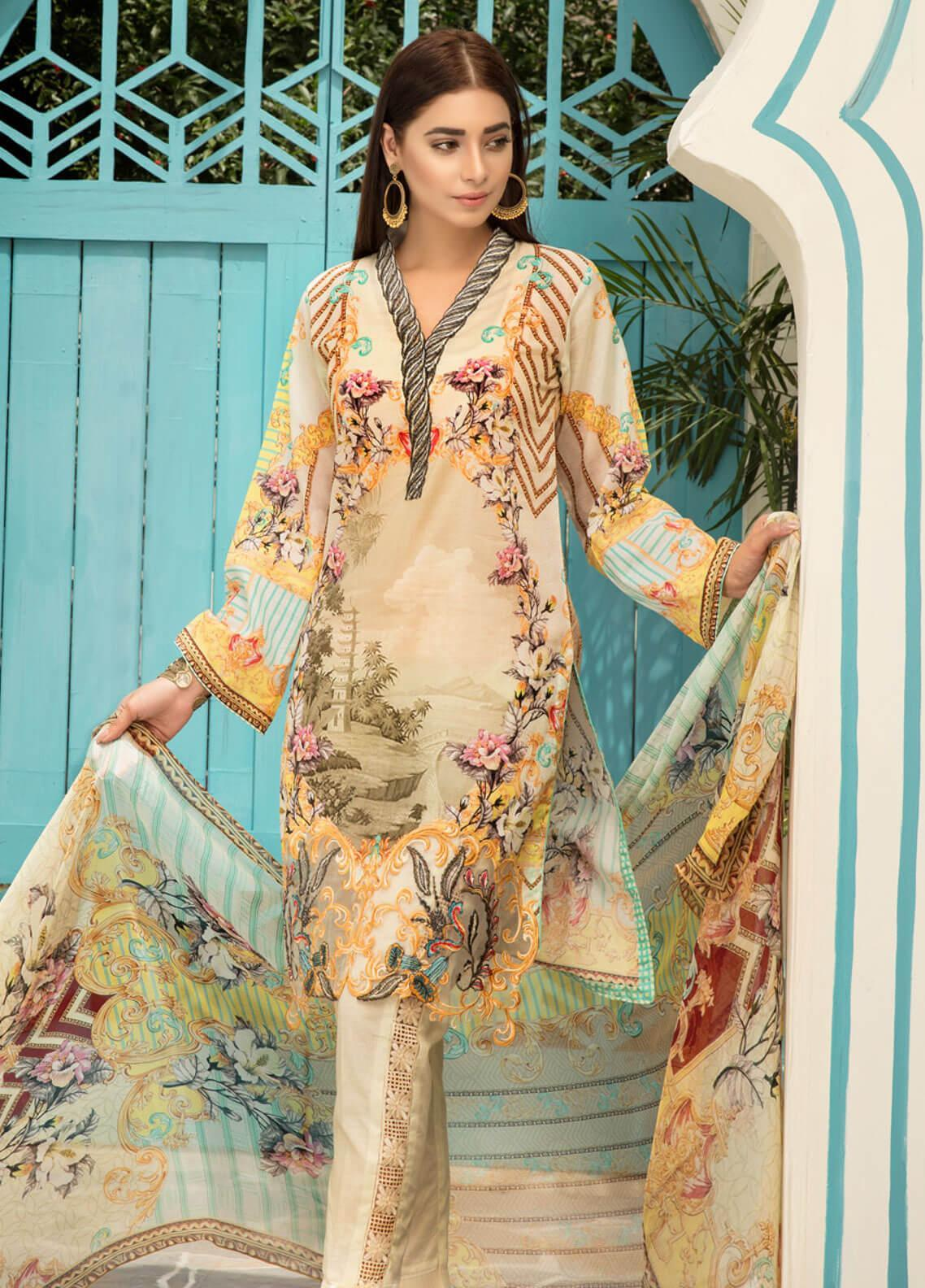 Sanoor by Noor Fatima Embroidered Lawn Unstitched 3 Piece Suit SNO19F 137 - Festive Collection