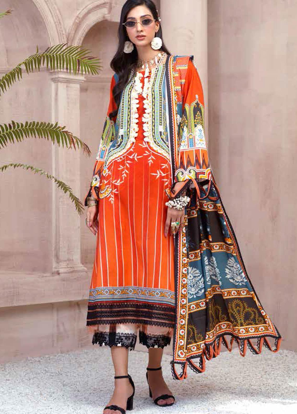 Sarang by Ittehad Textiles Printed Linen Unstitched 3 Piece Suit SG20PW 01 CALYPSO CORAL - Winter Collection