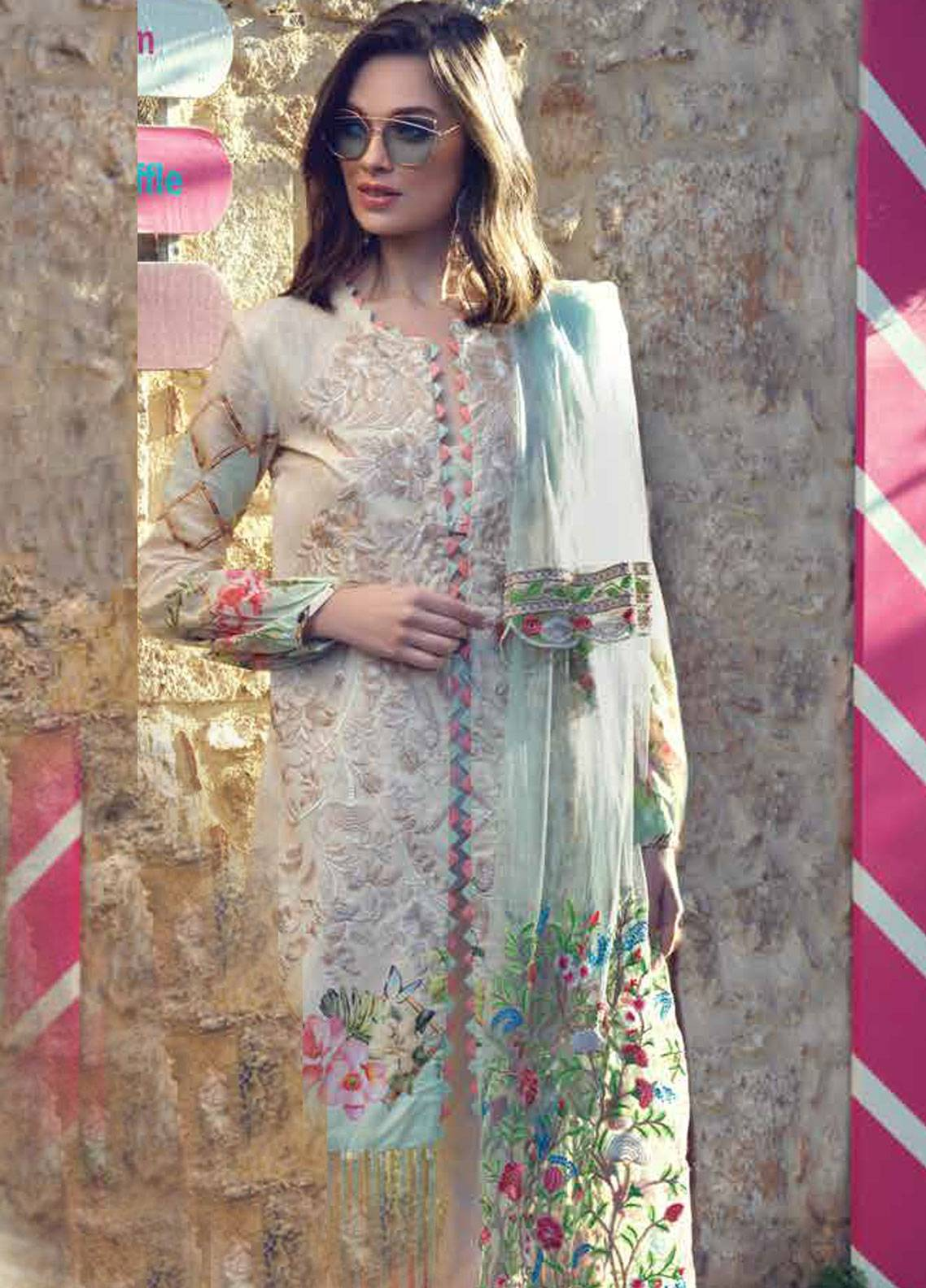 Sarang by Ittehad Textiles Embroidered Lawn Unstitched 3 Piece Suit SIT19LC 03 Cemel - Luxury lawn Collection
