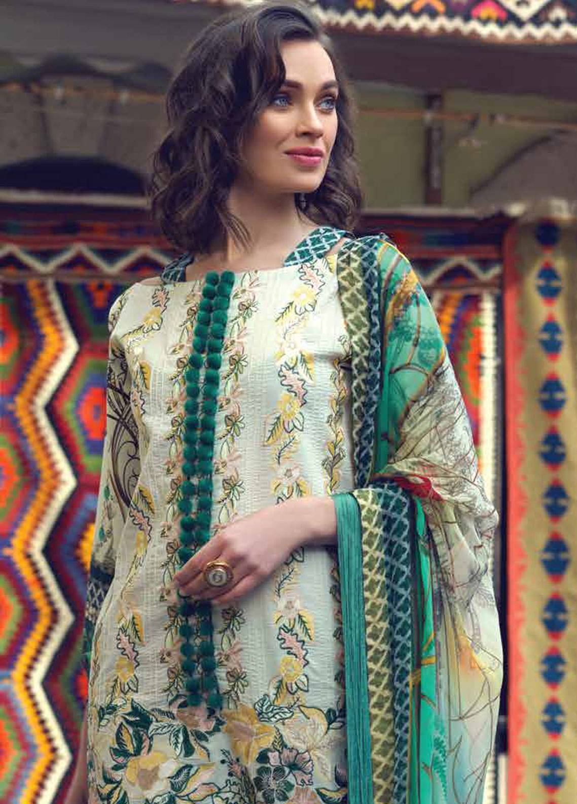 Sarang by Ittehad Textiles Embroidered Lawn Unstitched 3 Piece Suit SIT19LC 09 Nigar - Luxury lawn Collection