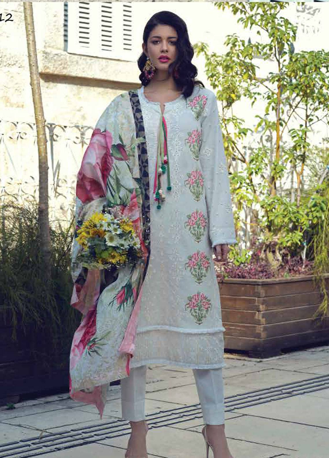 Sarang by Ittehad Textiles Embroidered Lawn Unstitched 3 Piece Suit SIT19LC 12 Selvi - Luxury lawn Collection