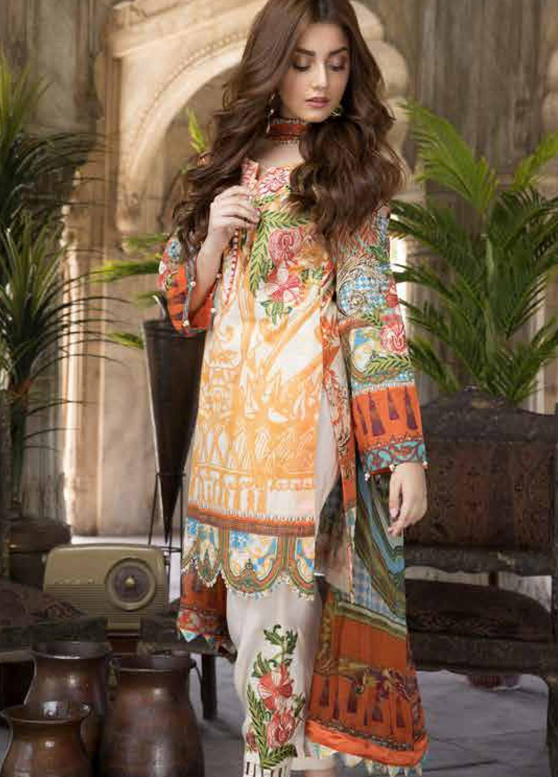 Satin Stitch Embroidered Lawn Unstitched 3 Piece Suit SS19E 02 - Eid Collection
