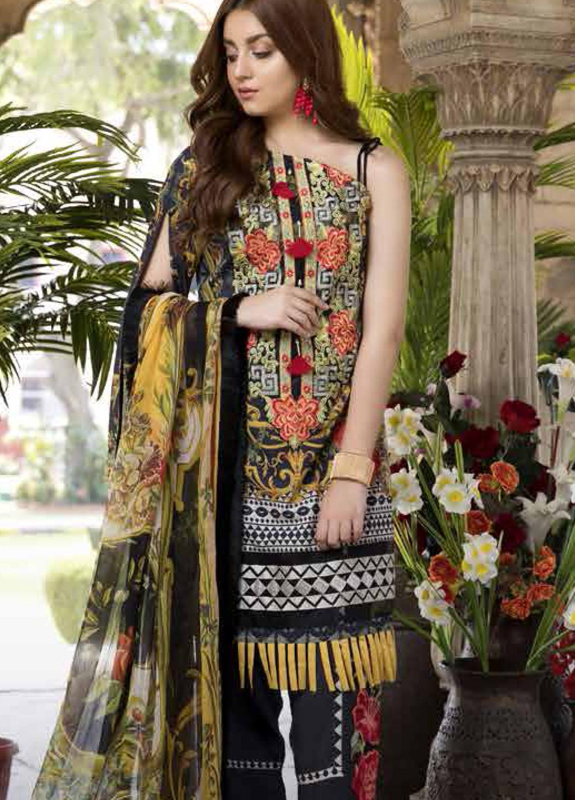 Satin Stitch Embroidered Lawn Unstitched 3 Piece Suit SS19E 04 - Eid Collection
