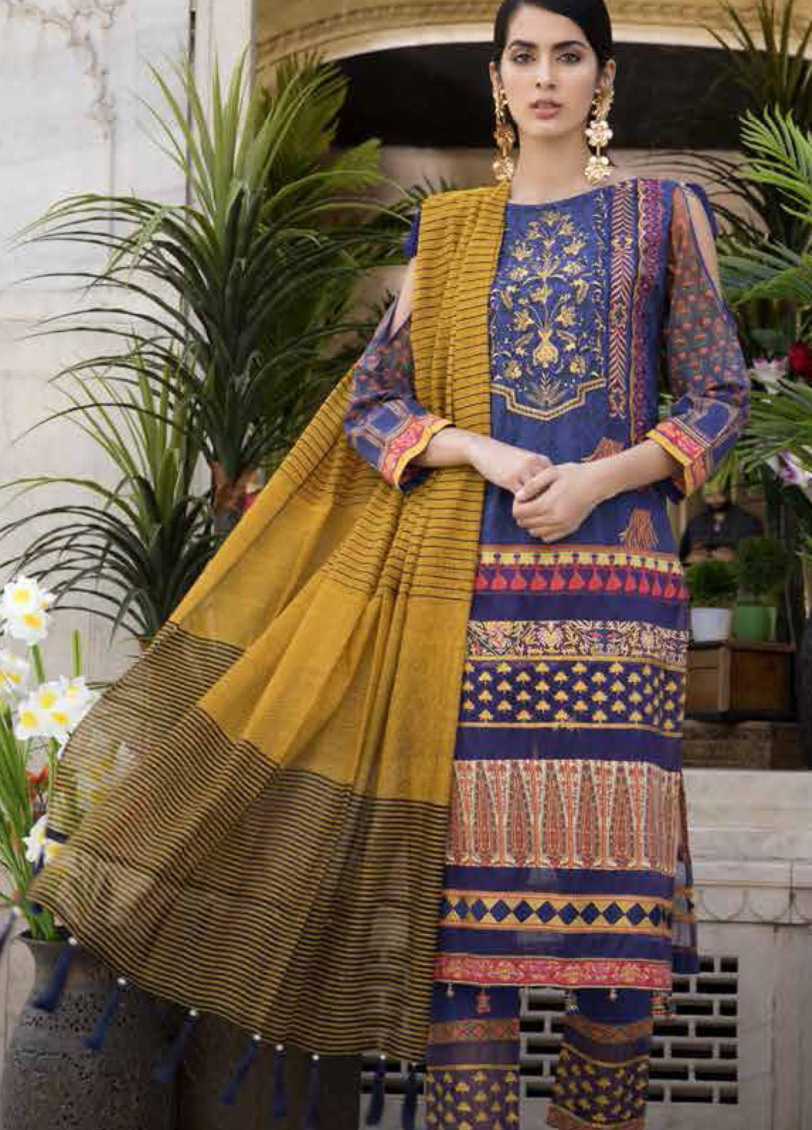 Satin Stitch Embroidered Lawn Unstitched 3 Piece Suit SS19E 07 - Eid Collection