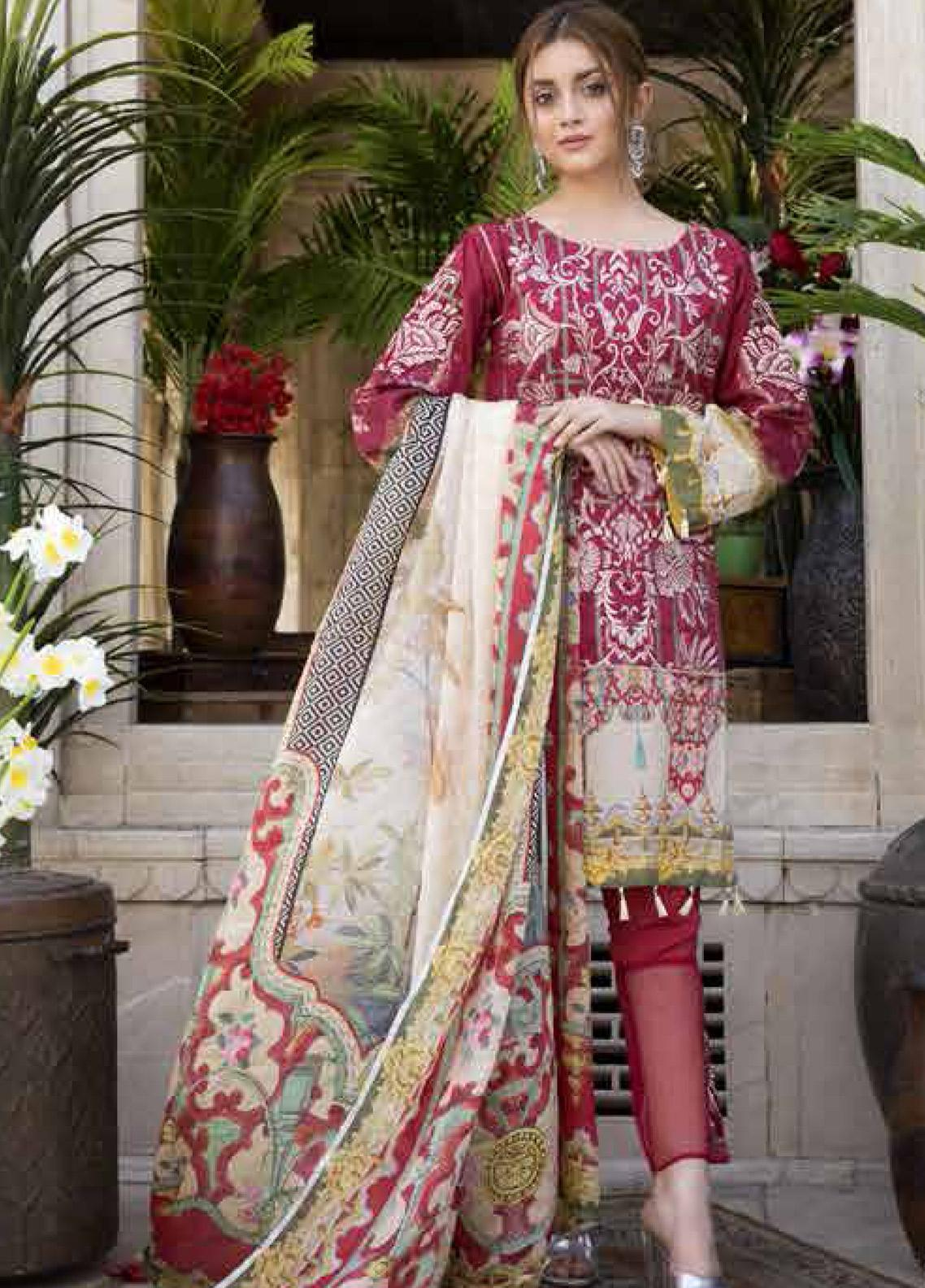 Satin Stitch Embroidered Lawn Unstitched 3 Piece Suit SS19E 09 - Eid Collection