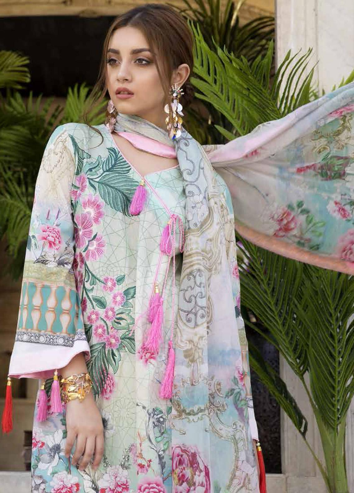 Satin Stitch Embroidered Lawn Unstitched 3 Piece Suit SS19E 10 - Eid Collection