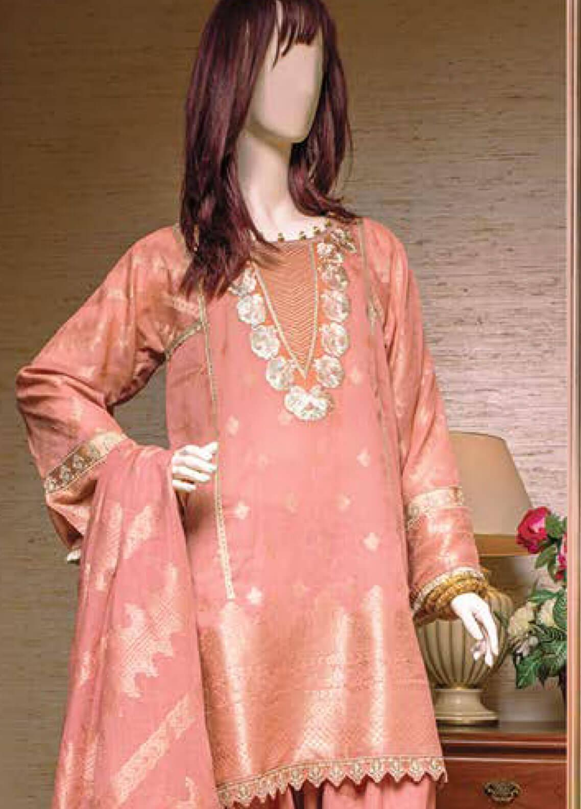 Saya Embroidered Jacquard Unstitched 3 Piece Suit SY19E 2A - Festive Collection