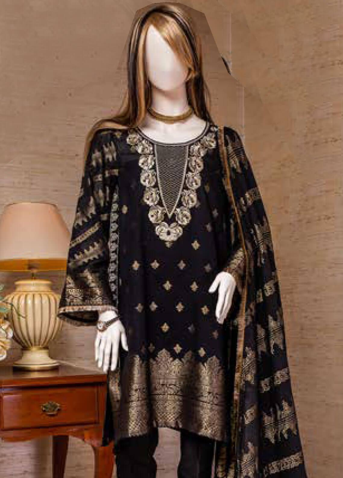 Saya Embroidered Jacquard Unstitched 3 Piece Suit SY19E 2B - Festive Collection
