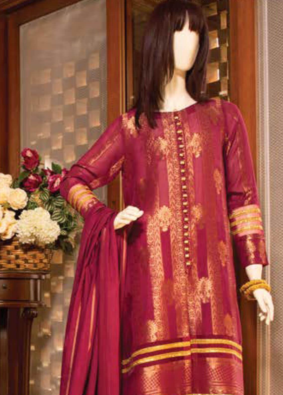Saya Embroidered Jacquard Unstitched 3 Piece Suit SY19E 3A - Festive Collection