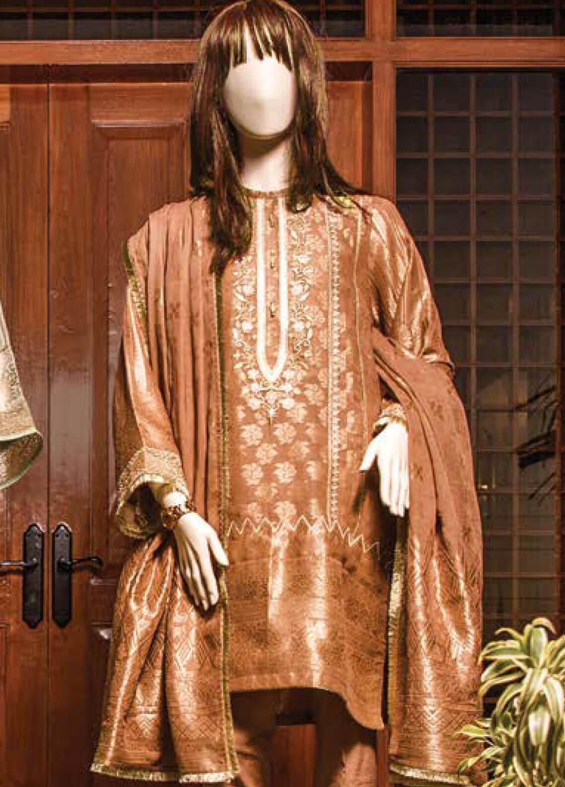 Saya Embroidered Jacquard Unstitched 3 Piece Suit SY19E 4B - Festive Collection