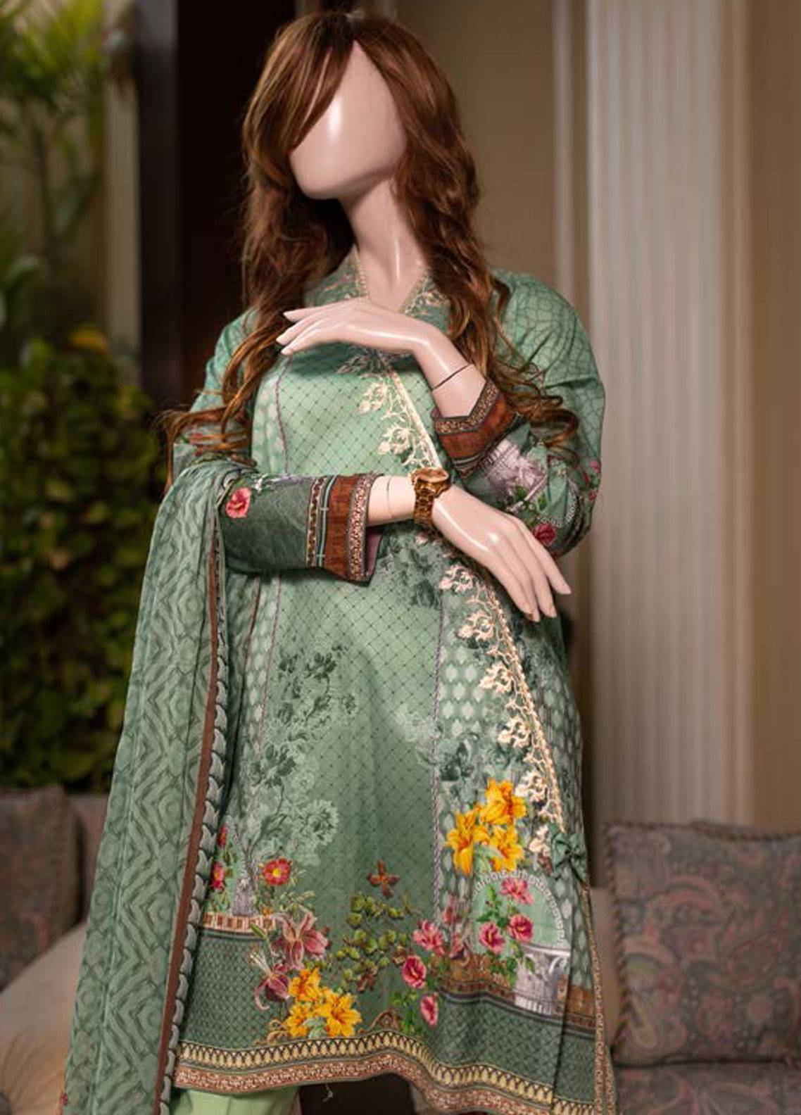 Saya Embroidered Lawn Unstitched 3 Piece Suit SY19-L2 1A - Spring / Summer Collection