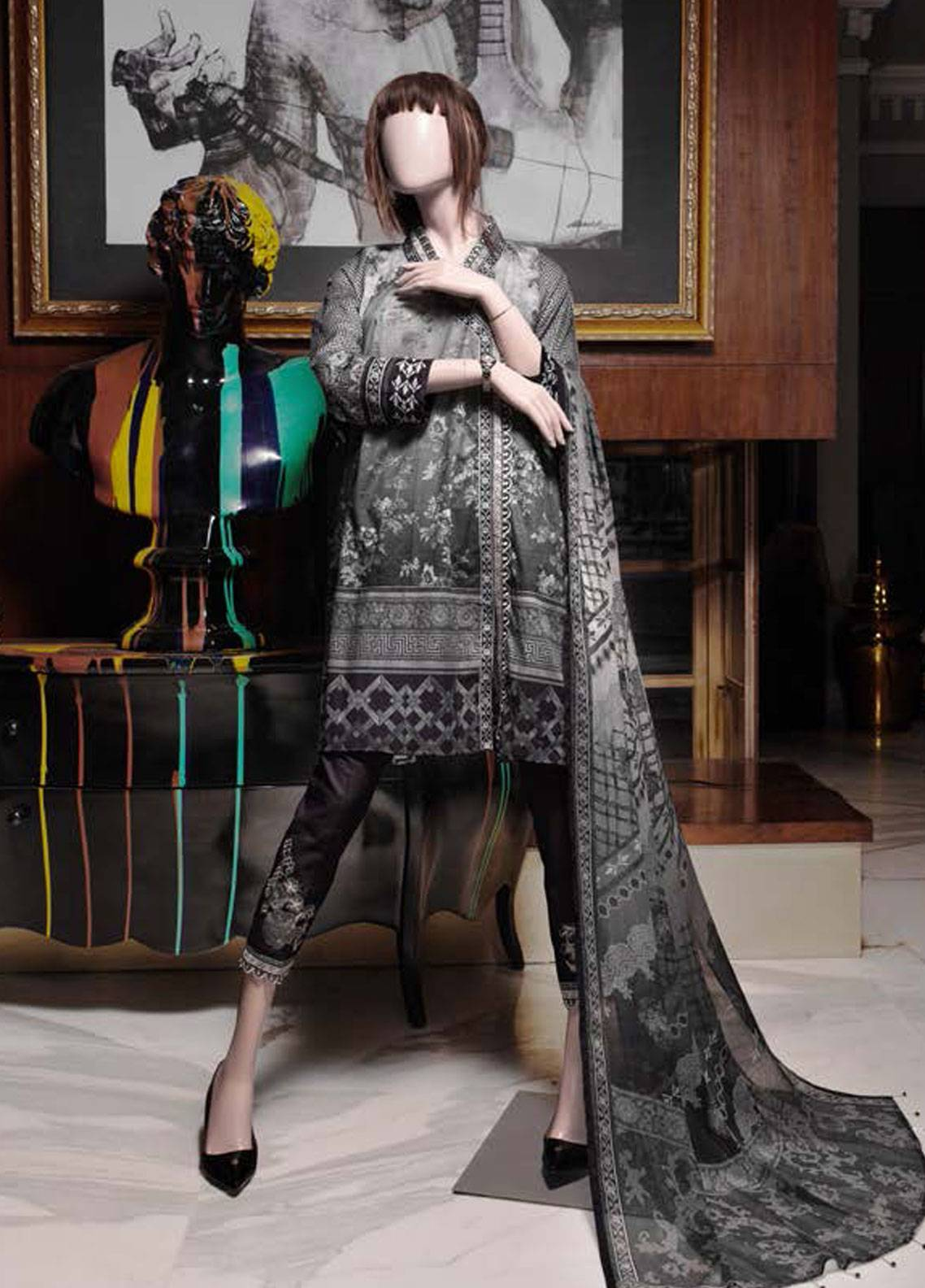 Saya Embroidered Lawn Unstitched 3 Piece Suit SY19-L2 2B - Spring / Summer Collection