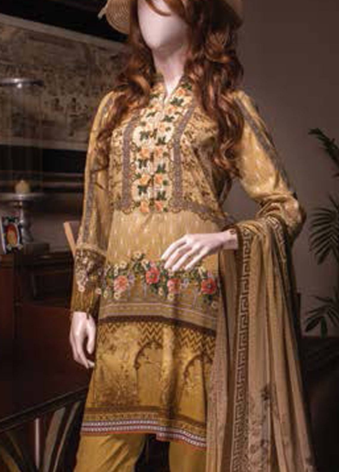 Saya Embroidered Lawn Unstitched 3 Piece Suit SY19-L2 3B - Spring / Summer Collection