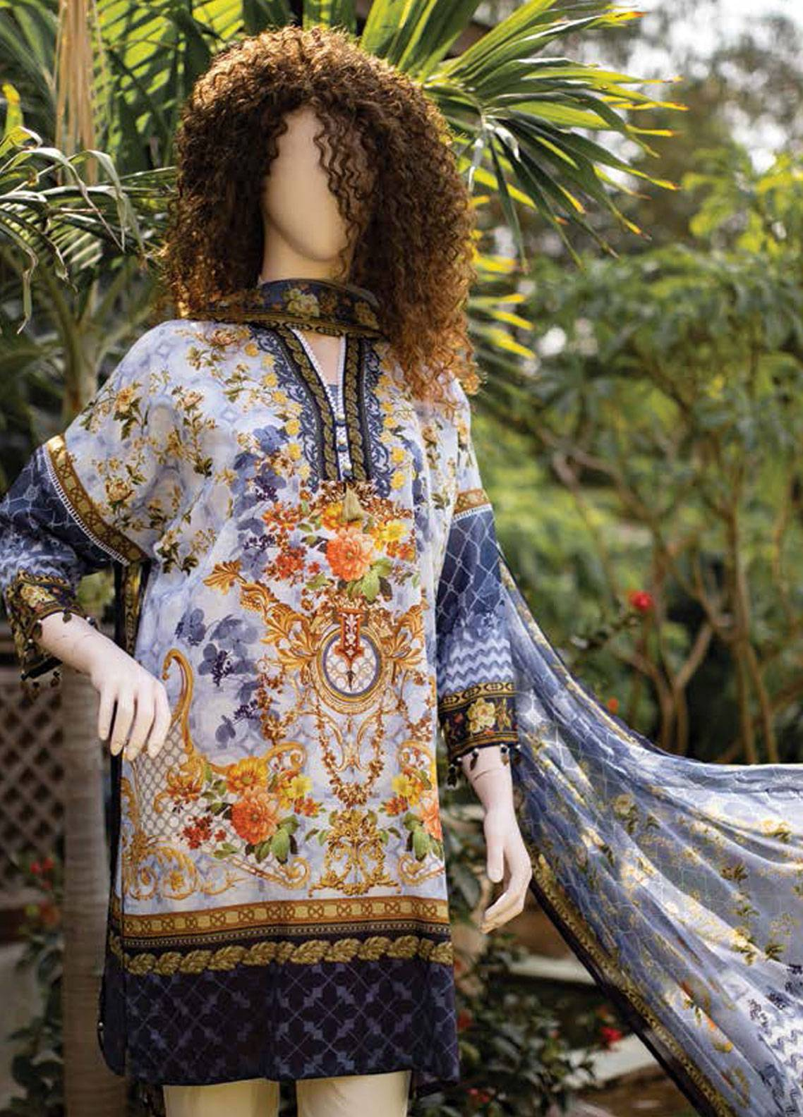 Saya Embroidered Lawn Unstitched 3 Piece Suit SY19-L2 4B - Spring / Summer Collection