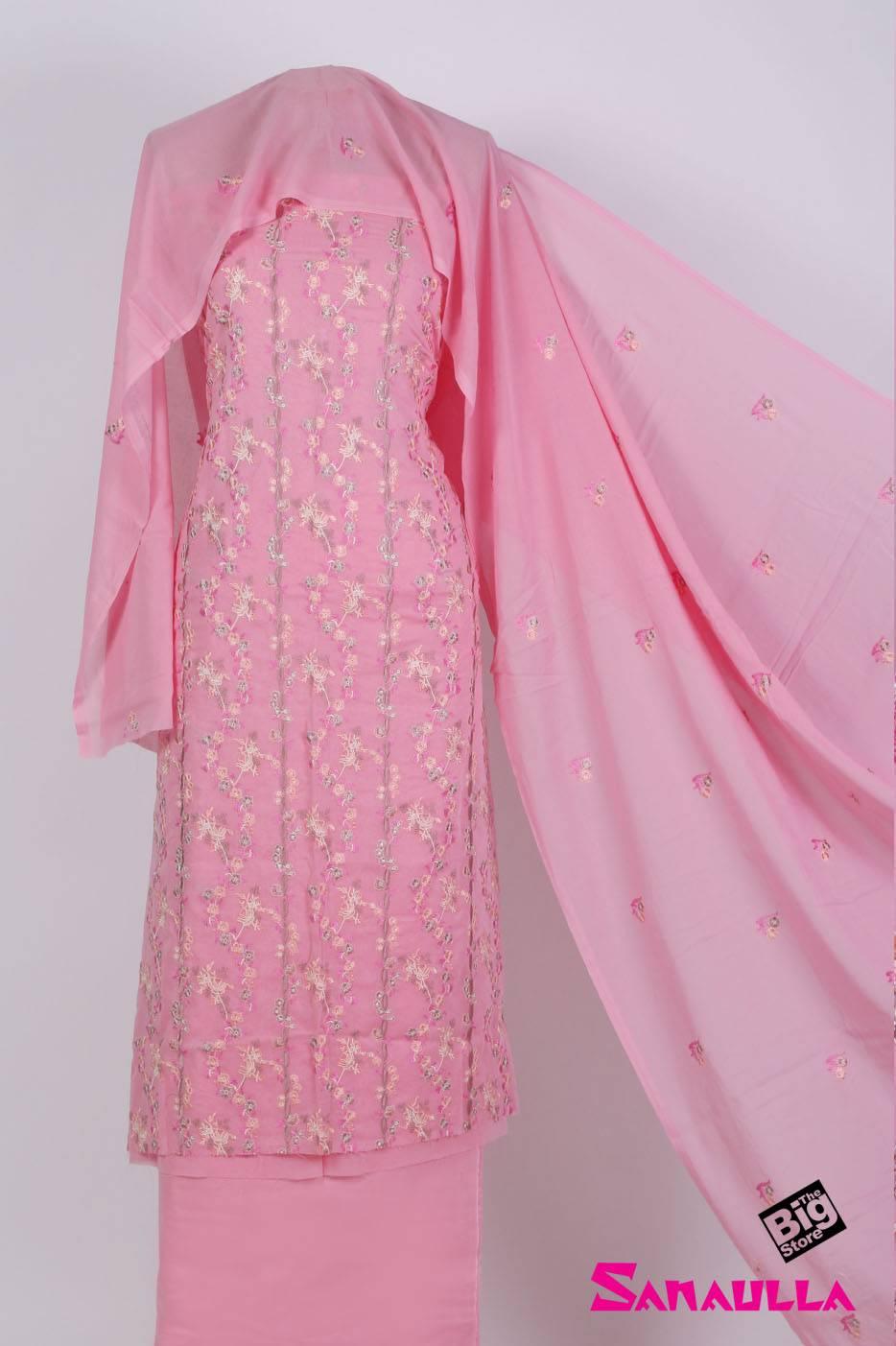 Sanaulla Exclusive Range Embroidered Swiss Voile Unstitched 3 Piece Suit SAZZ 701 Pink