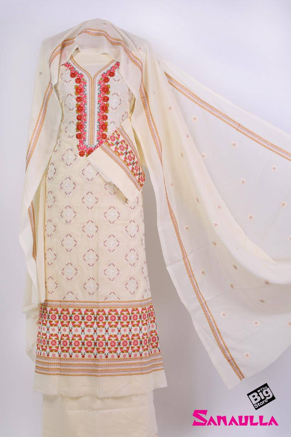 Sanaulla Exclusive Range Embroidered Swiss Voile Unstitched 3 Piece Suit SAZZ 706 Off White