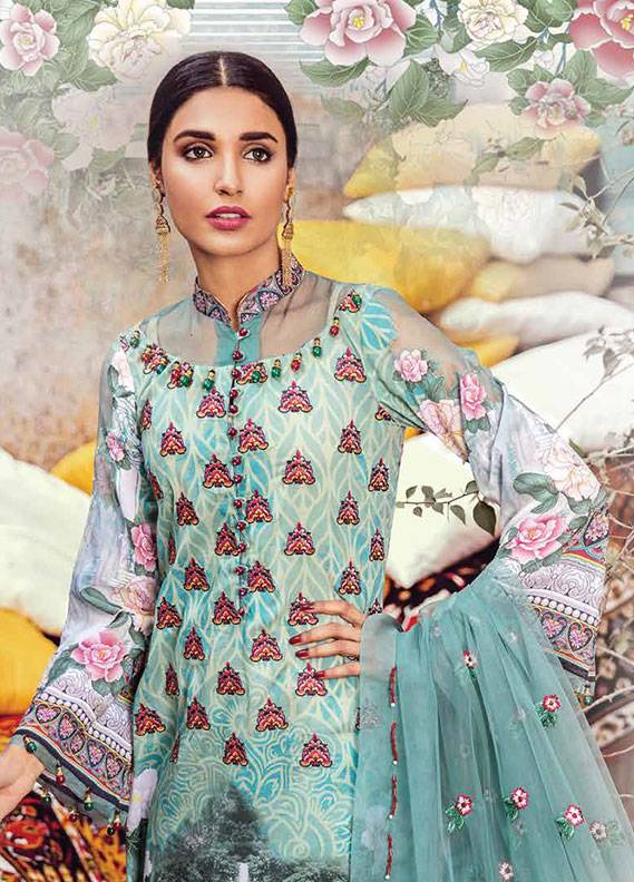 Bashir Ahmed Embroidered Lawn Unstitched 3 Piece Suit SB18L 09 - Spring / Summer Collection