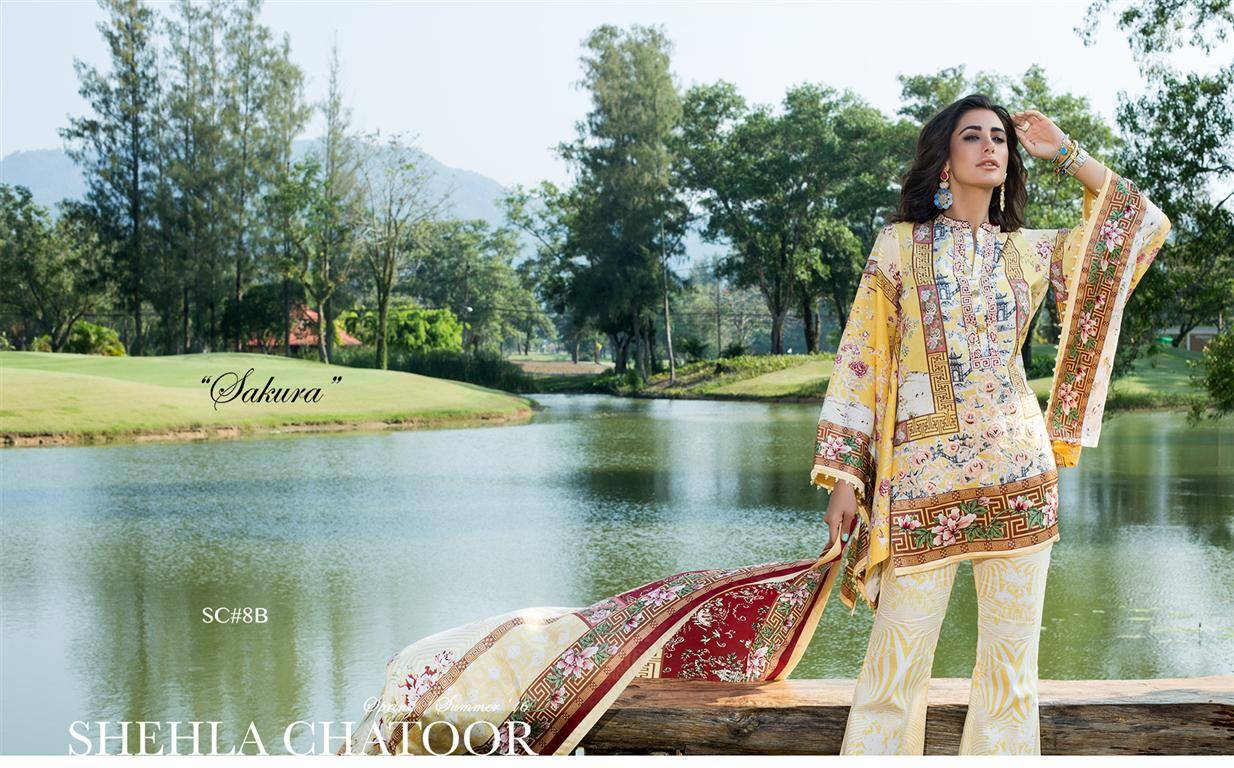 Shehla Chatoor Embroidered Lawn Unstitched 3 Piece Suit SC16L 8B