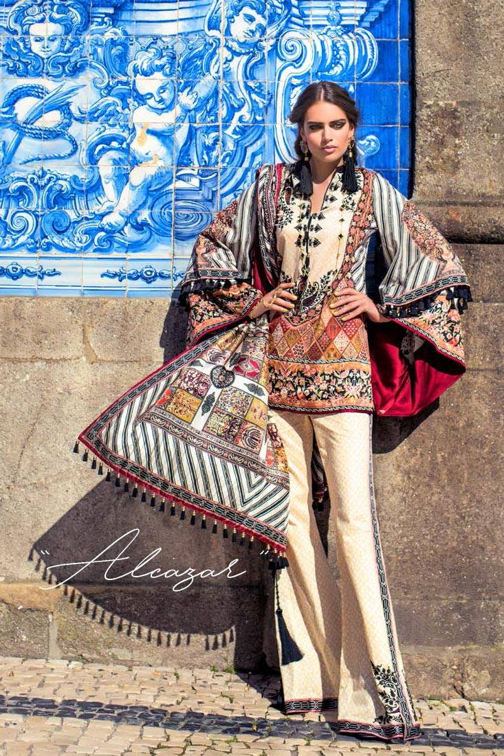 Shehla Chatoor Embroidered Lawn Unstitched 3 Piece Suit SC17L 1A