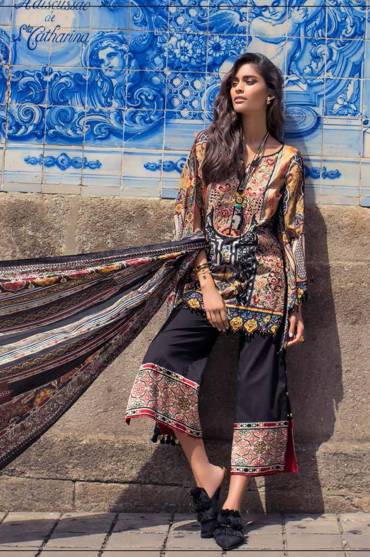 Shehla Chatoor Embroidered Lawn Unstitched 3 Piece Suit SC17L 8A
