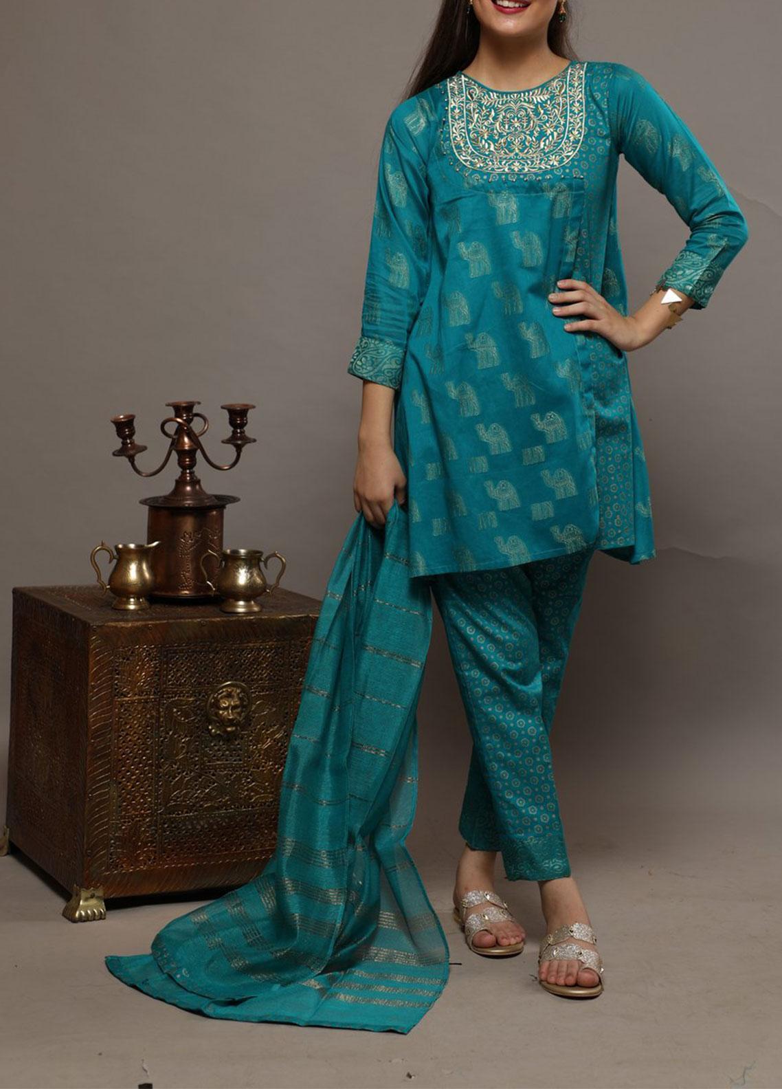 Senorita Cotton Casual 3 Piece Suit for Girls -  GBD-01272 TURQUOISE GREEN
